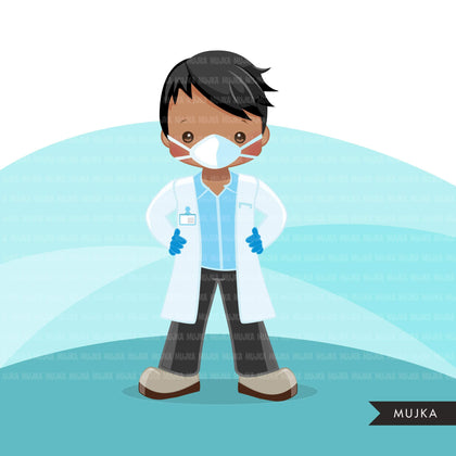 Black male Doctor clipart with mask and gloves, hospital graphics, print and cut PNG digital Designs, covid Medical boy clip art