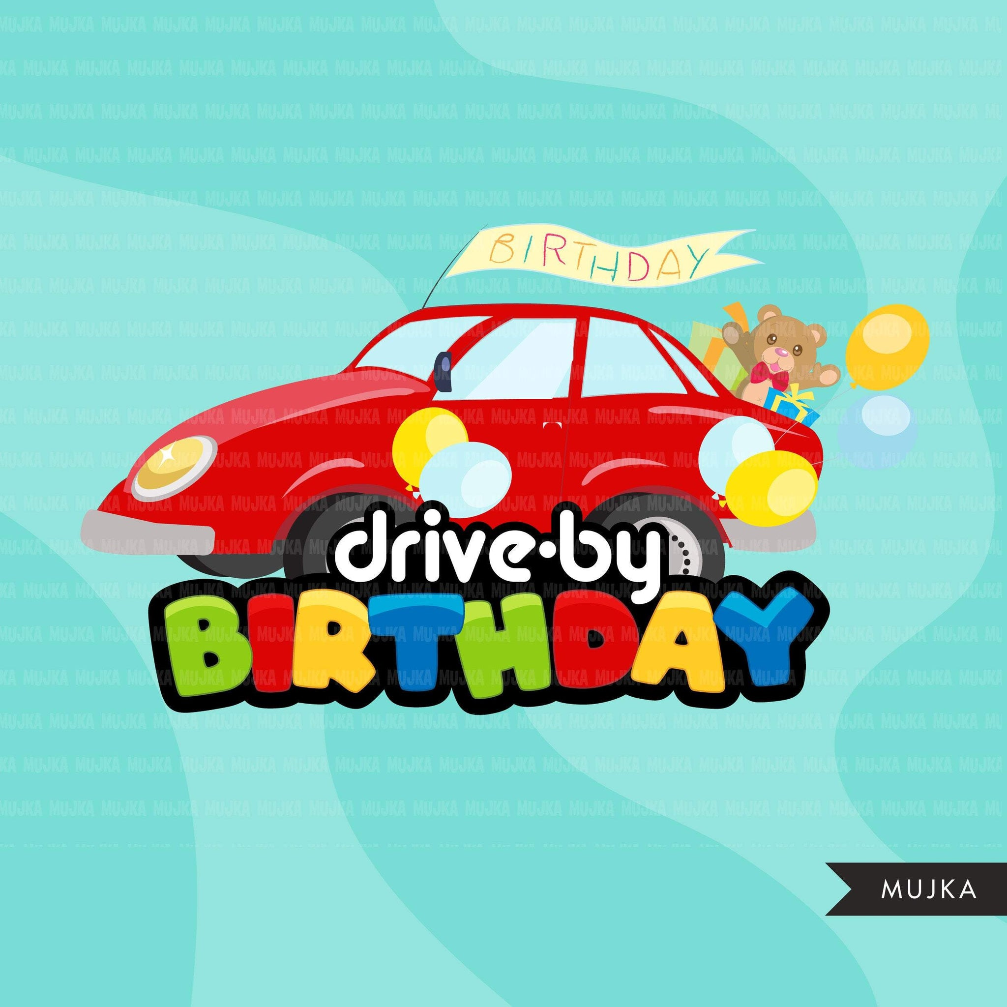 Drive-by Birthday Party parade clipart, boy quarantine birthday party, drive through party truck, car, covid graphics, PNG clip art