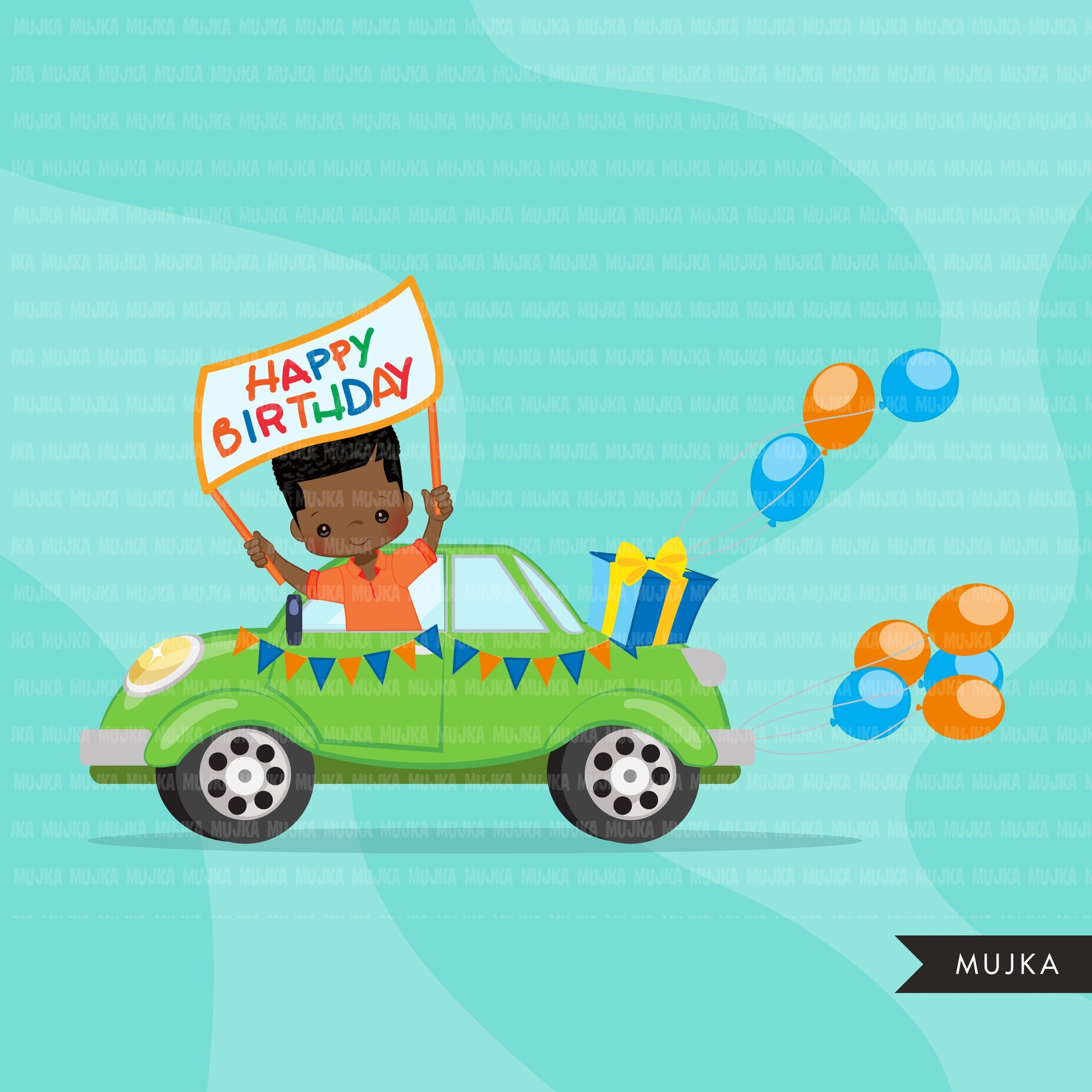 Drive-by Birthday Party parade clipart, boys quarantine birthday party, drive through party truck, car, covid graphics, PNG clip art
