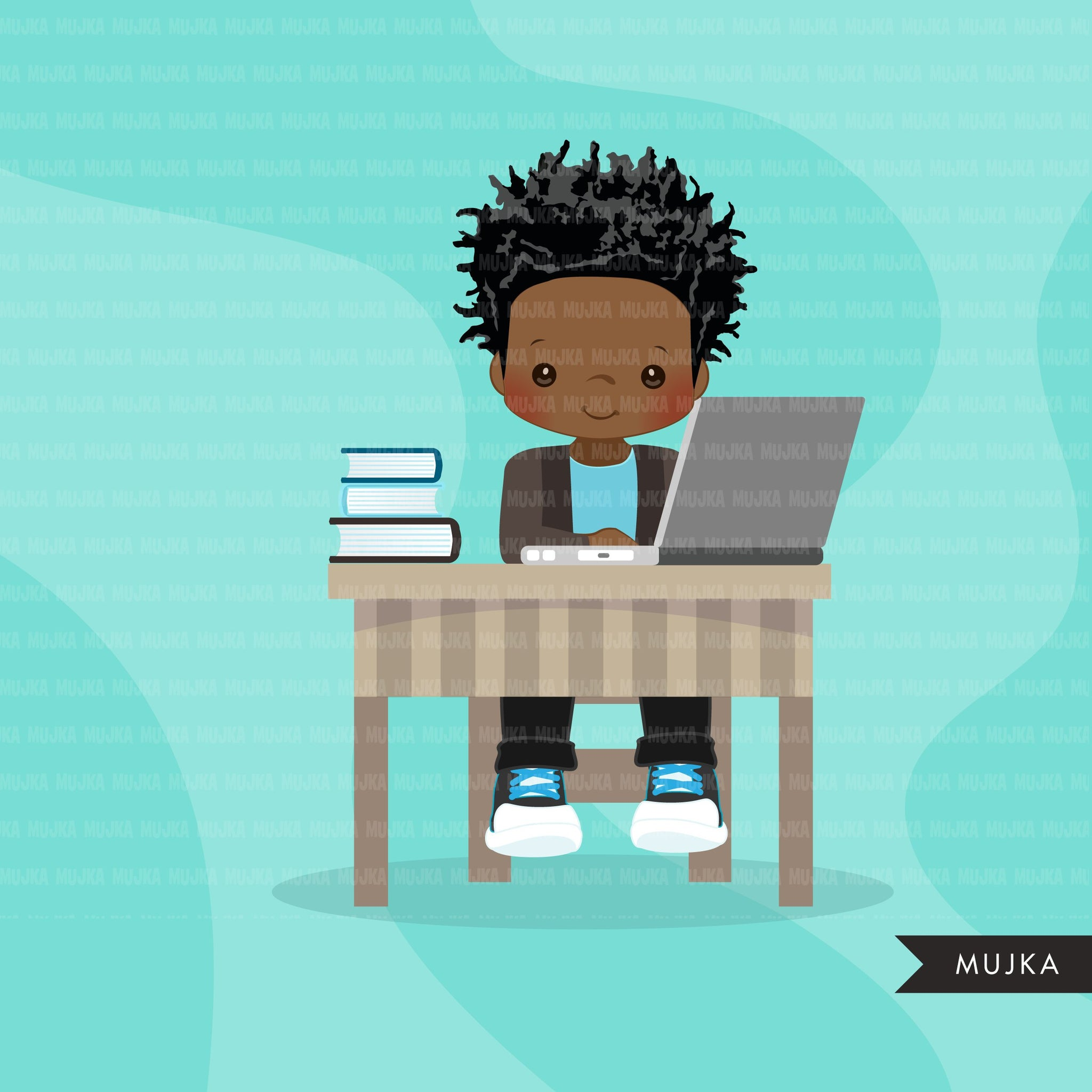 Distant Learning Clipart, Black Boys with laptop, homeschooling, student homework, shop logo graphics, Png clip art