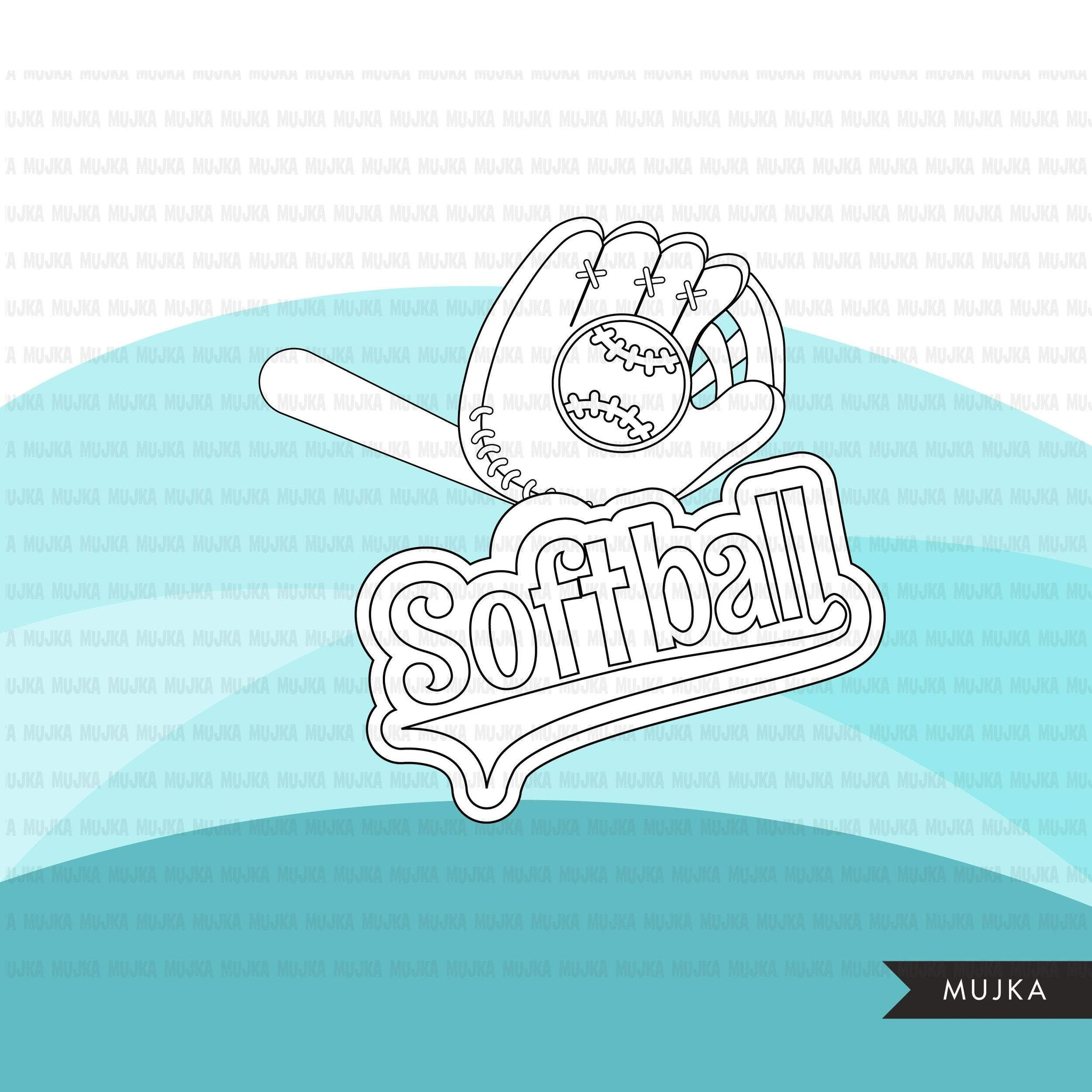 Softball Digital Stamps, Girl players, Sports Graphics, B&W clip art outline, home run, all star, cap, helmet and bat