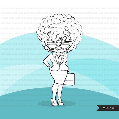 Afro woman digital stamps with business suit, briefcase and glasses black boss babe graphics, outline art