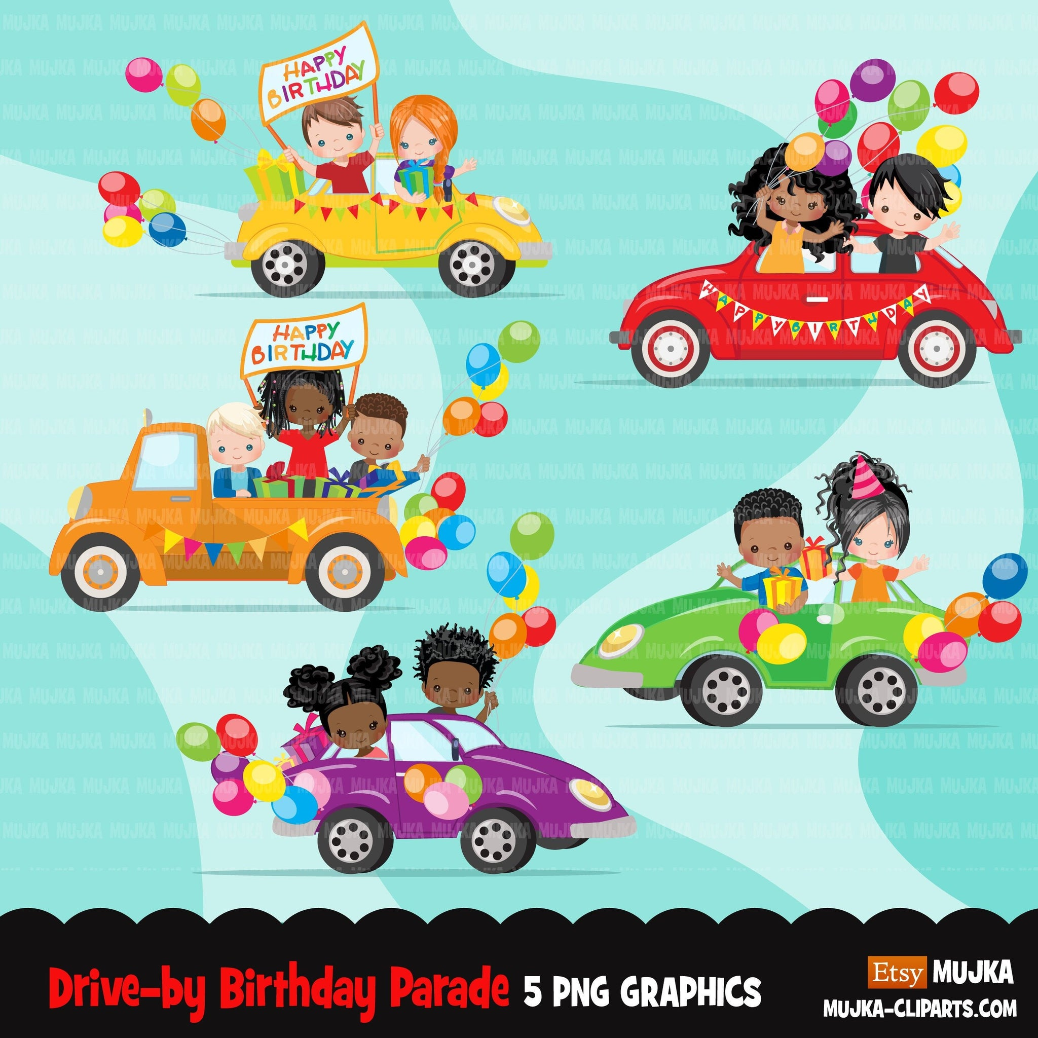 Drive-by Birthday Party parade clipart, boys girls quarantine birthday party, drive through party truck, car, covid graphics, PNG clip art