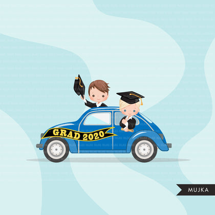 Drive by Graduation parade clipart, boys quarantine grads party, drive through truck, car, limousine, class of 2020 school graphics, PNG clip art