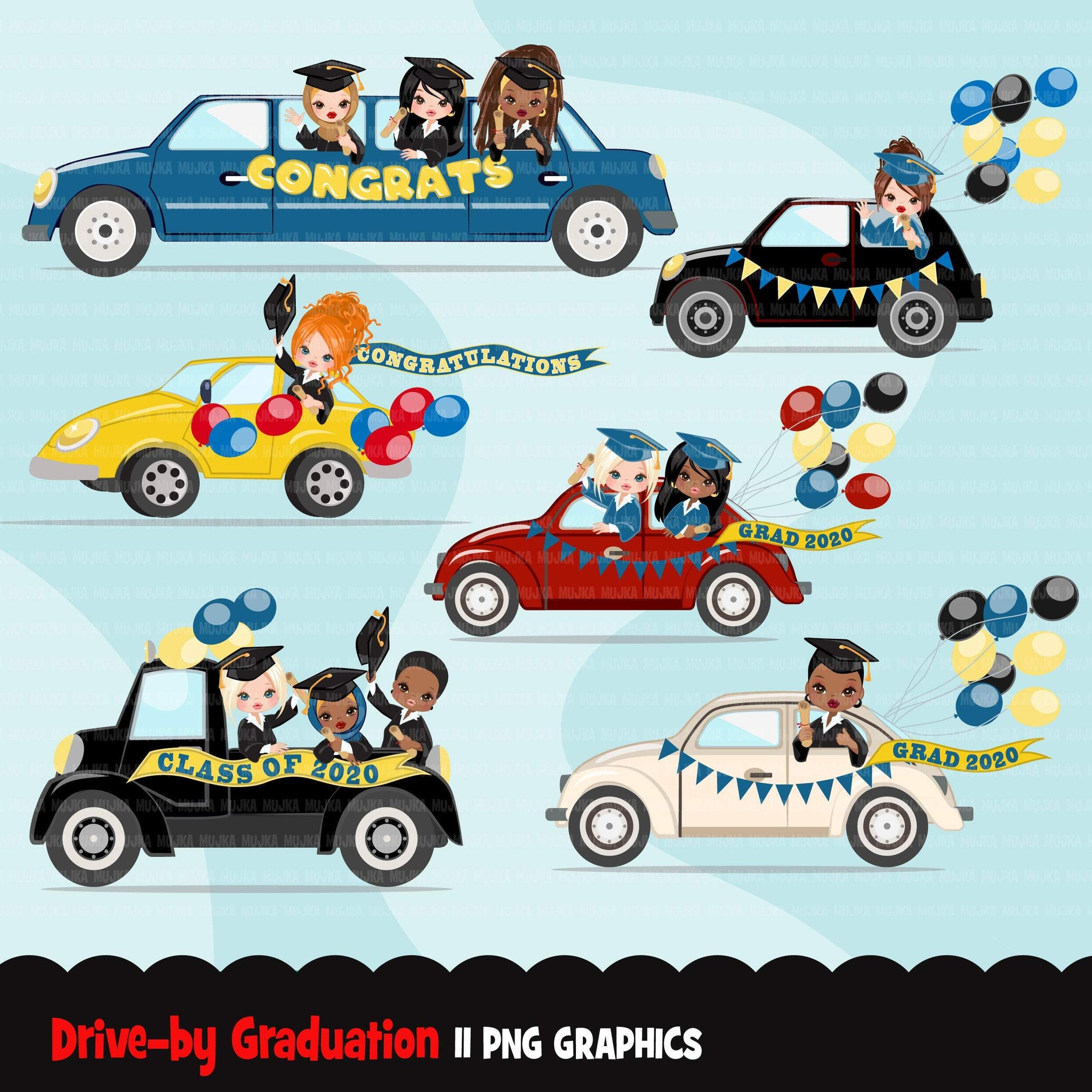 Drive by Graduation parade clipart, seniors quarantine party, drive through truck, car, limousine, class of 2020 graphics, PNG clip art