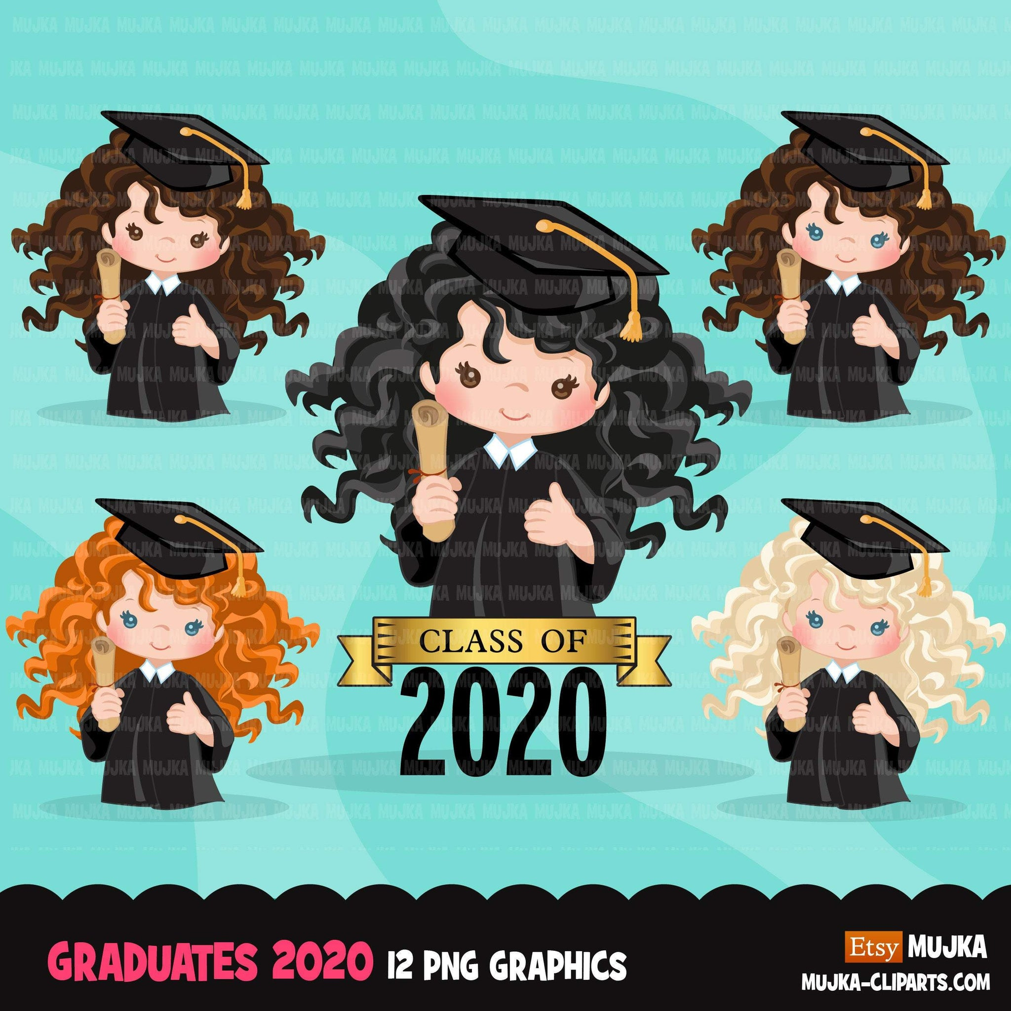 Graduation Clipart, 2020 graduate girls with cape and scroll, school, student class of 2020 gold banner graphics, PNG clip art