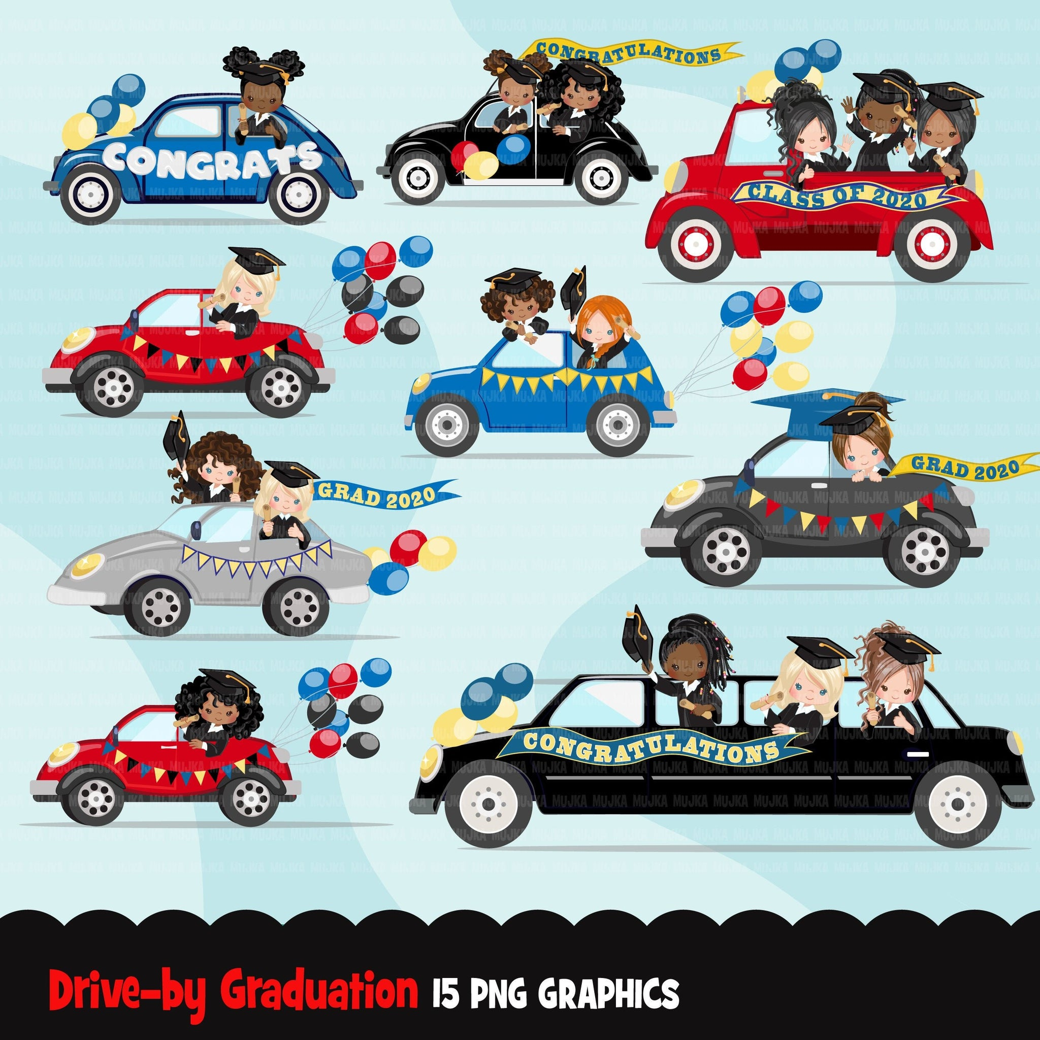 Drive by Graduation parade clipart, girls quarantine grads party, drive through truck, car, limousine, class of 2020 school graphics, PNG clip art