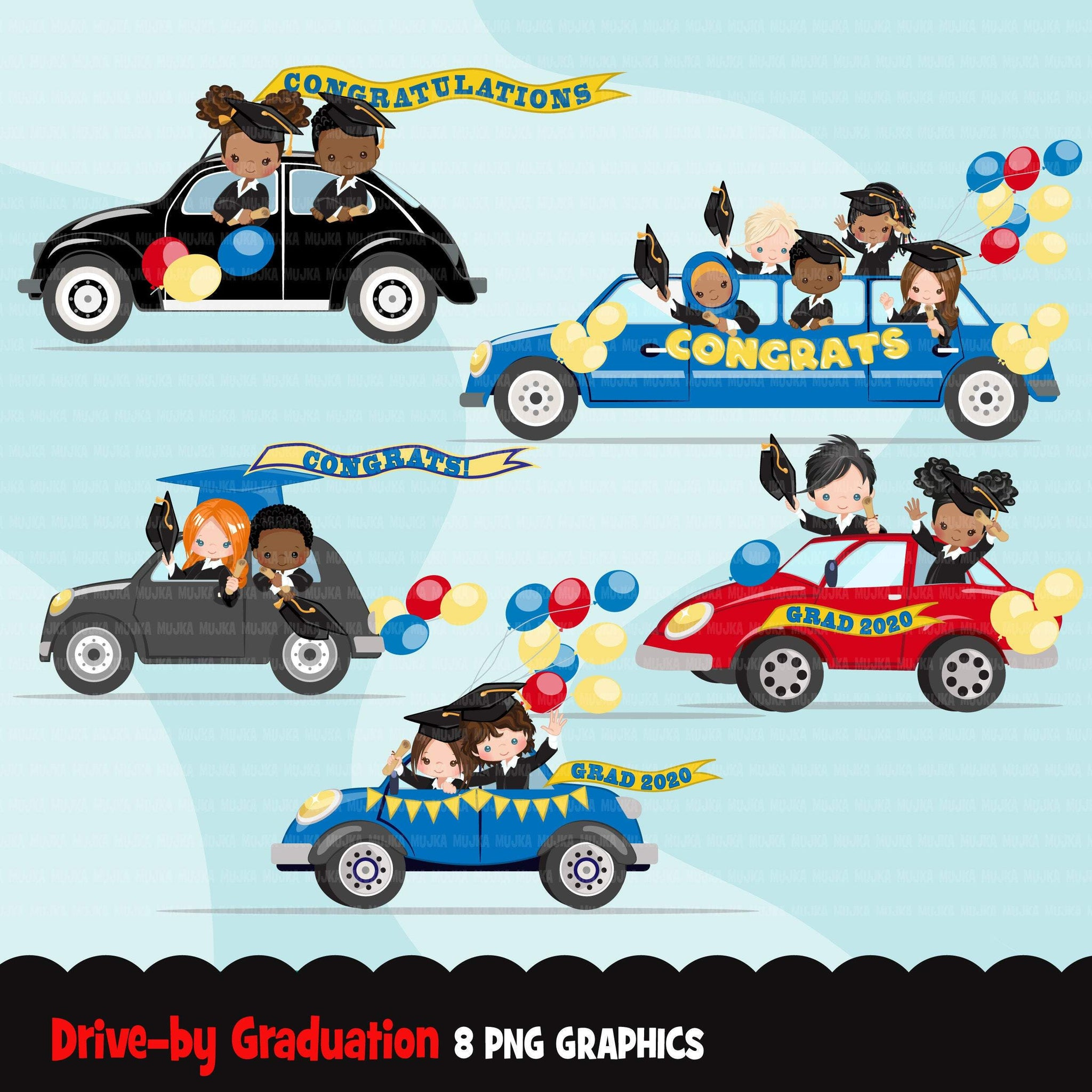 Drive by Graduation parade clipart, boys, girls quarantine grads party, drive through truck, limousine, school, class of 2020 graphics, PNG clip art