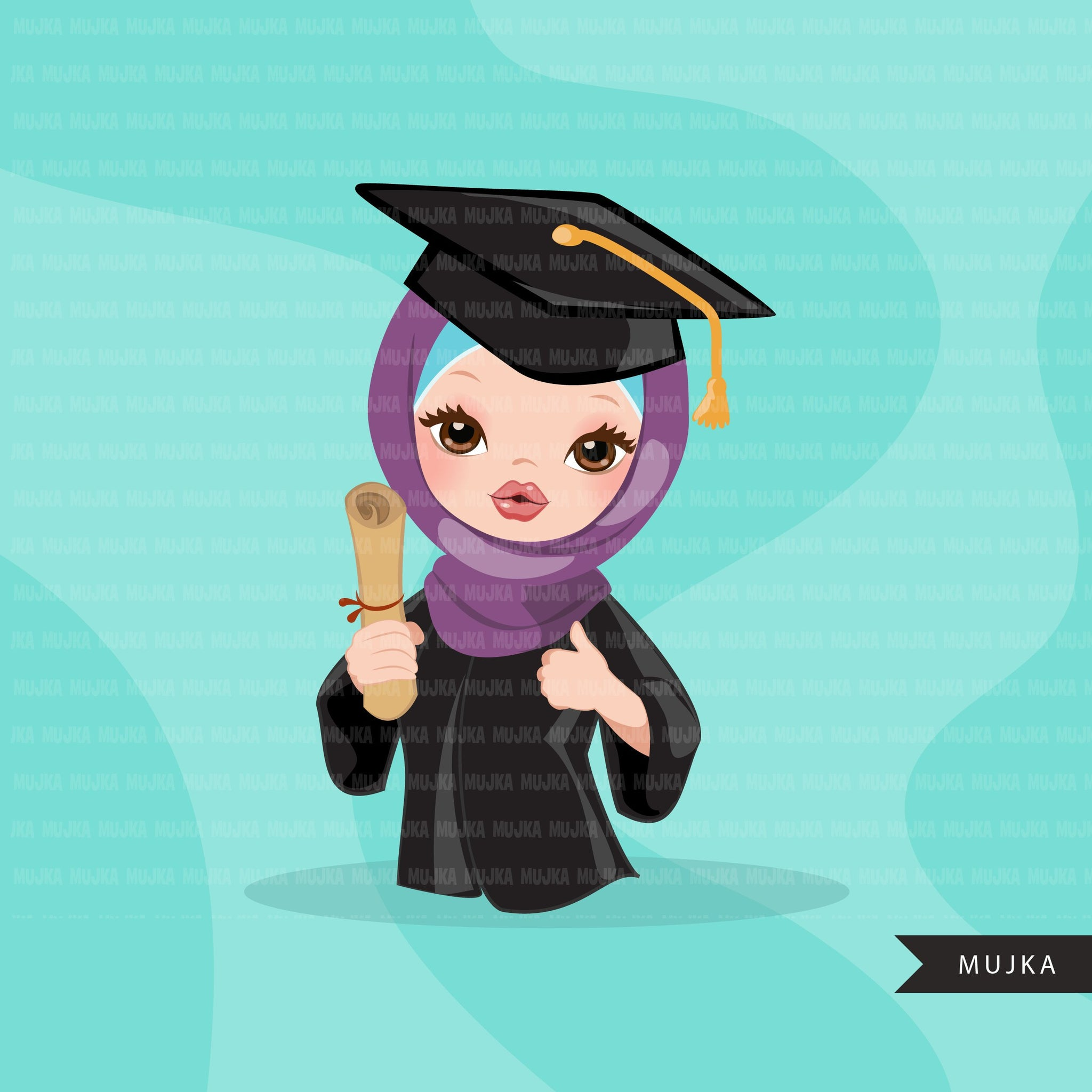 Graduation Clipart, senior graduate girls with hijab, cape and scroll, school, muslim student class of 2020 gold banner graphics, PNG