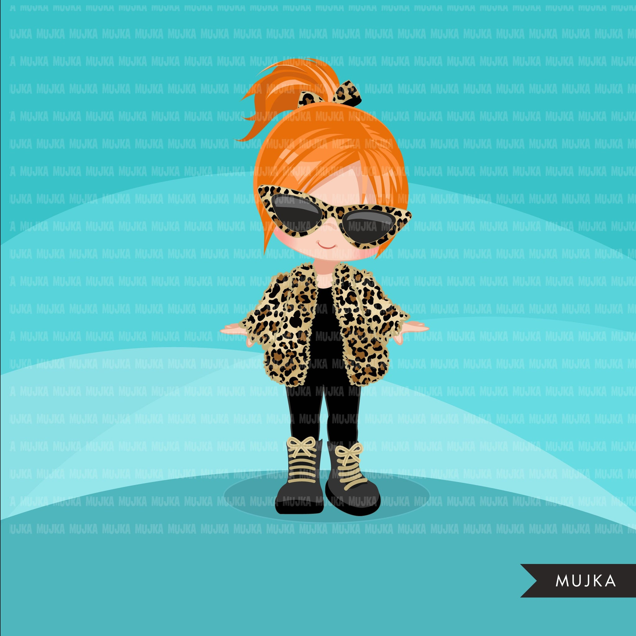 Fashion little girl clipart with leopard jacket, boots and sunglasses, Vacation, travel commercial use characters, digital PNG
