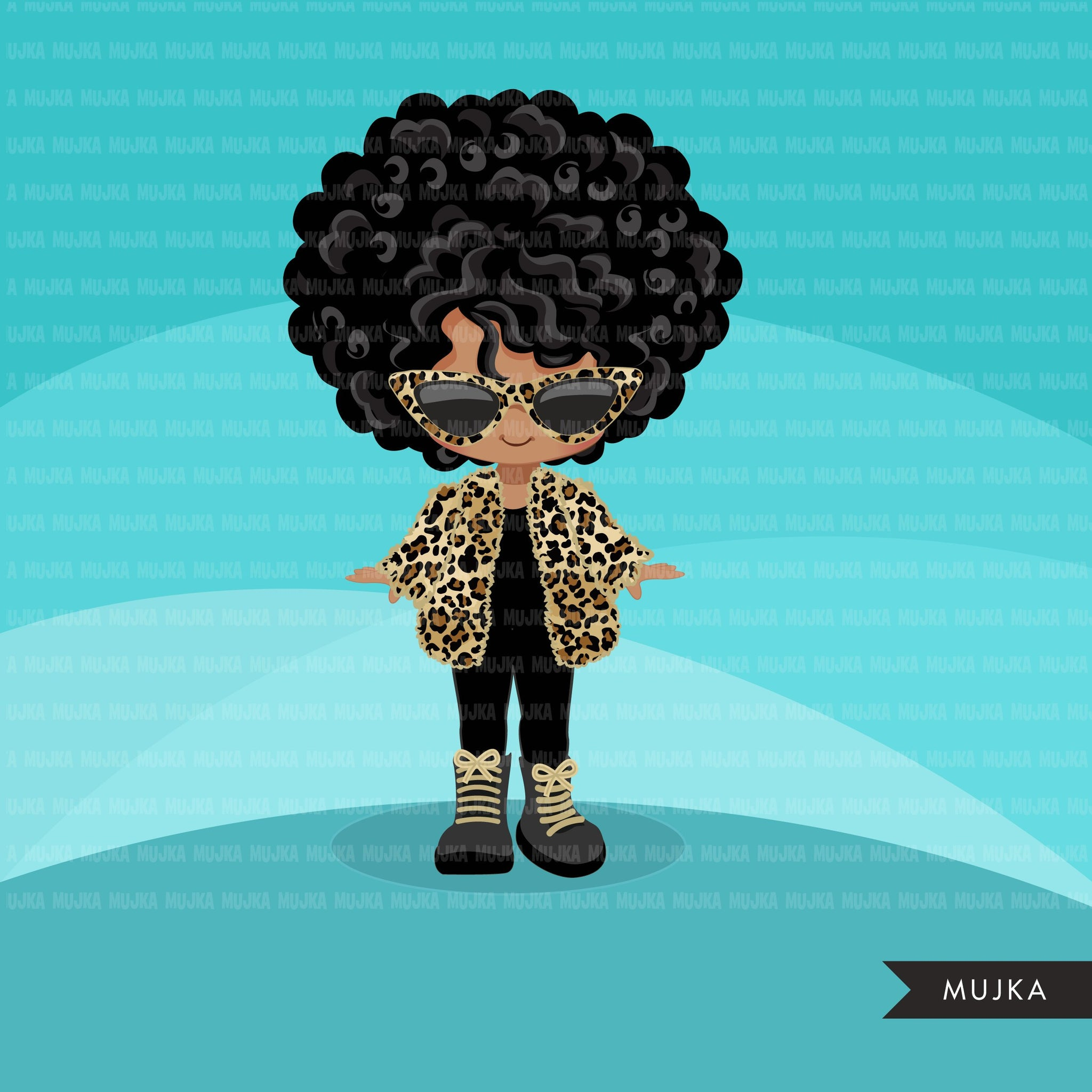 Fashion little black girl clipart with leopard jacket, boots and sunglasses, Vacation, travel commercial use characters, digital PNG