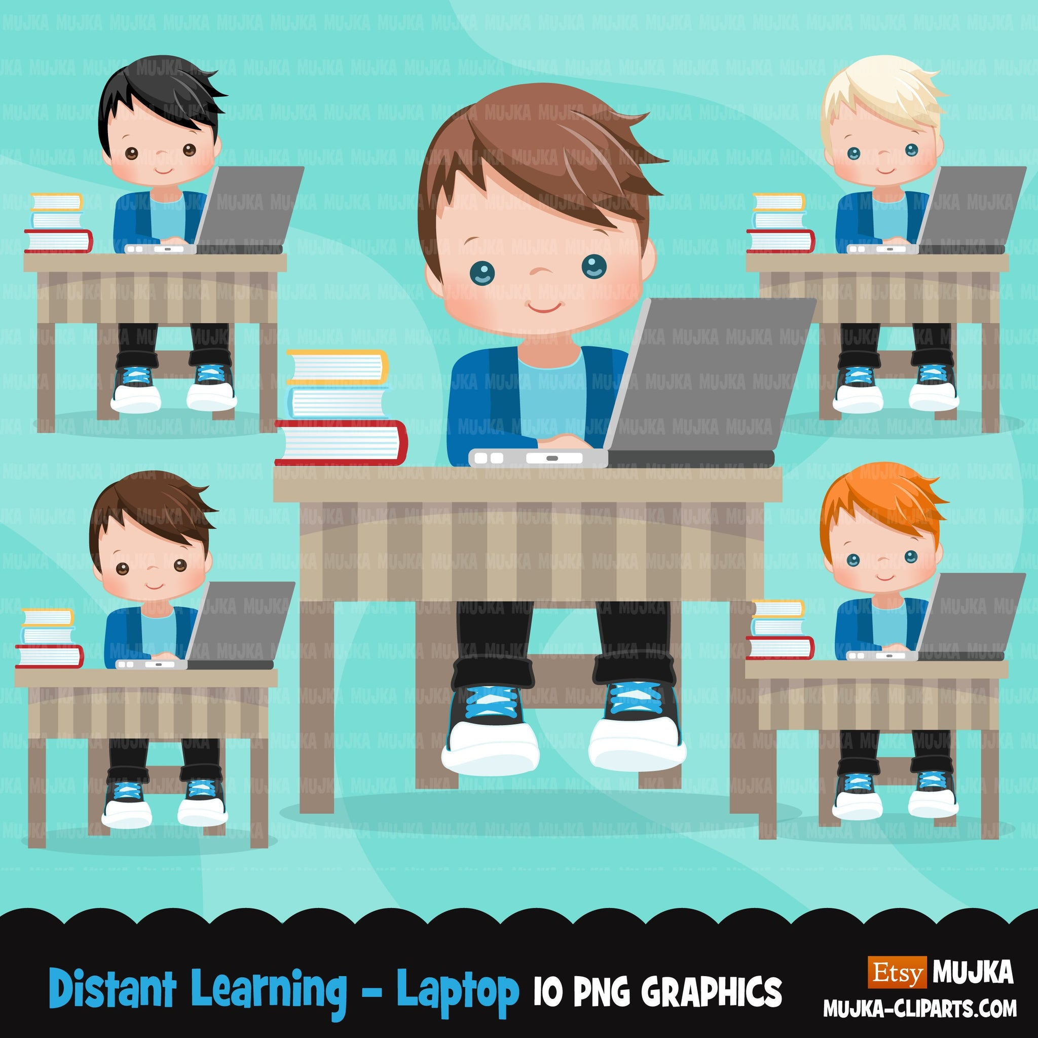 Distant Learning Clipart, Boys with laptop, home schooling, student homework, shop logo graphics, Png clip art