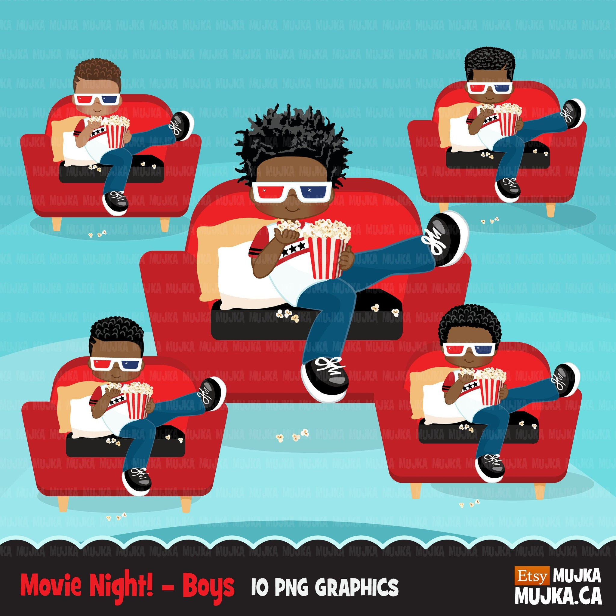 Movie night Clipart, movie birthday party, black boys graphics, popcorn, sleepover party Png clip art