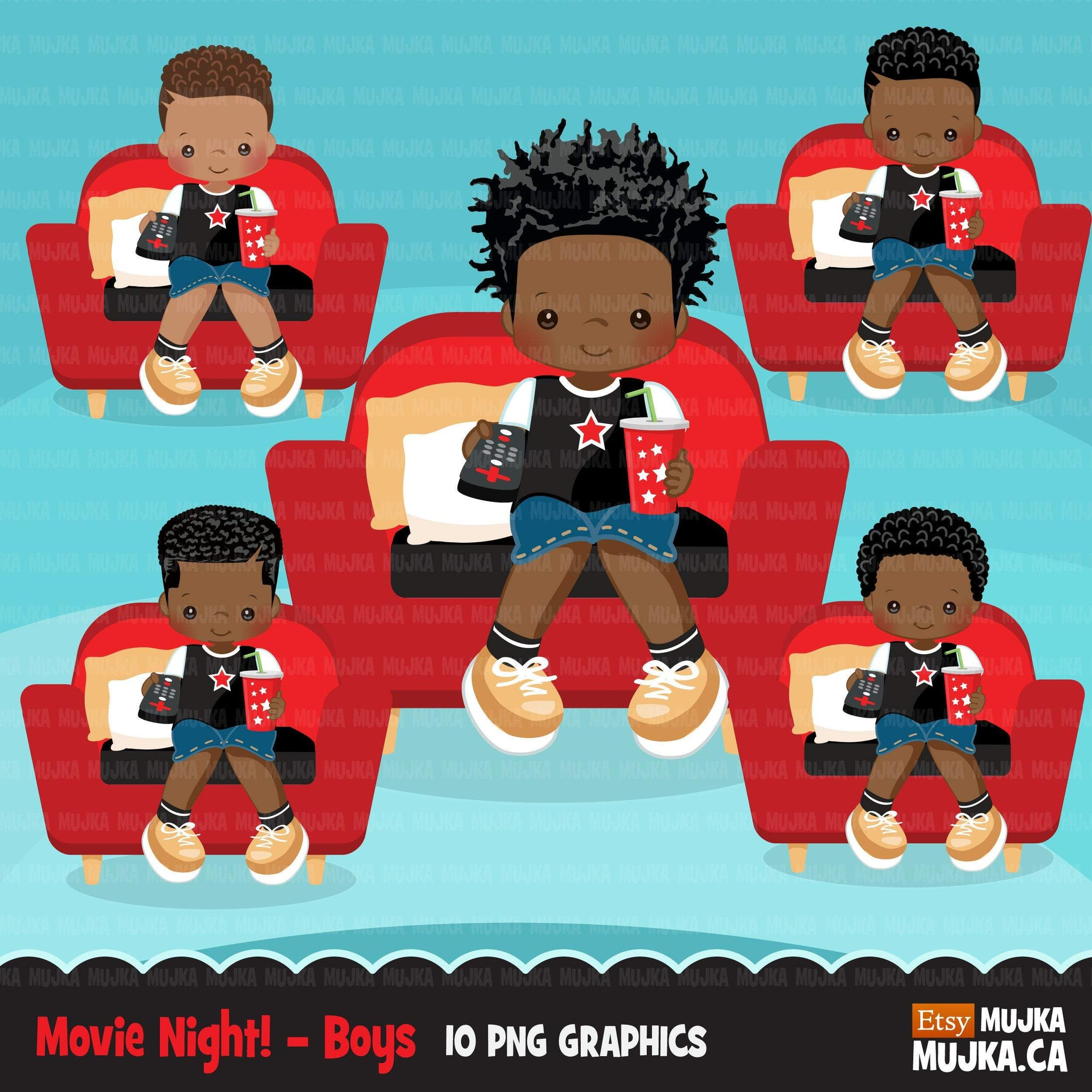 Movie night Clipart, movie birthday party, black boys graphics, TV remote, popcorn, sleepover party Png clip art