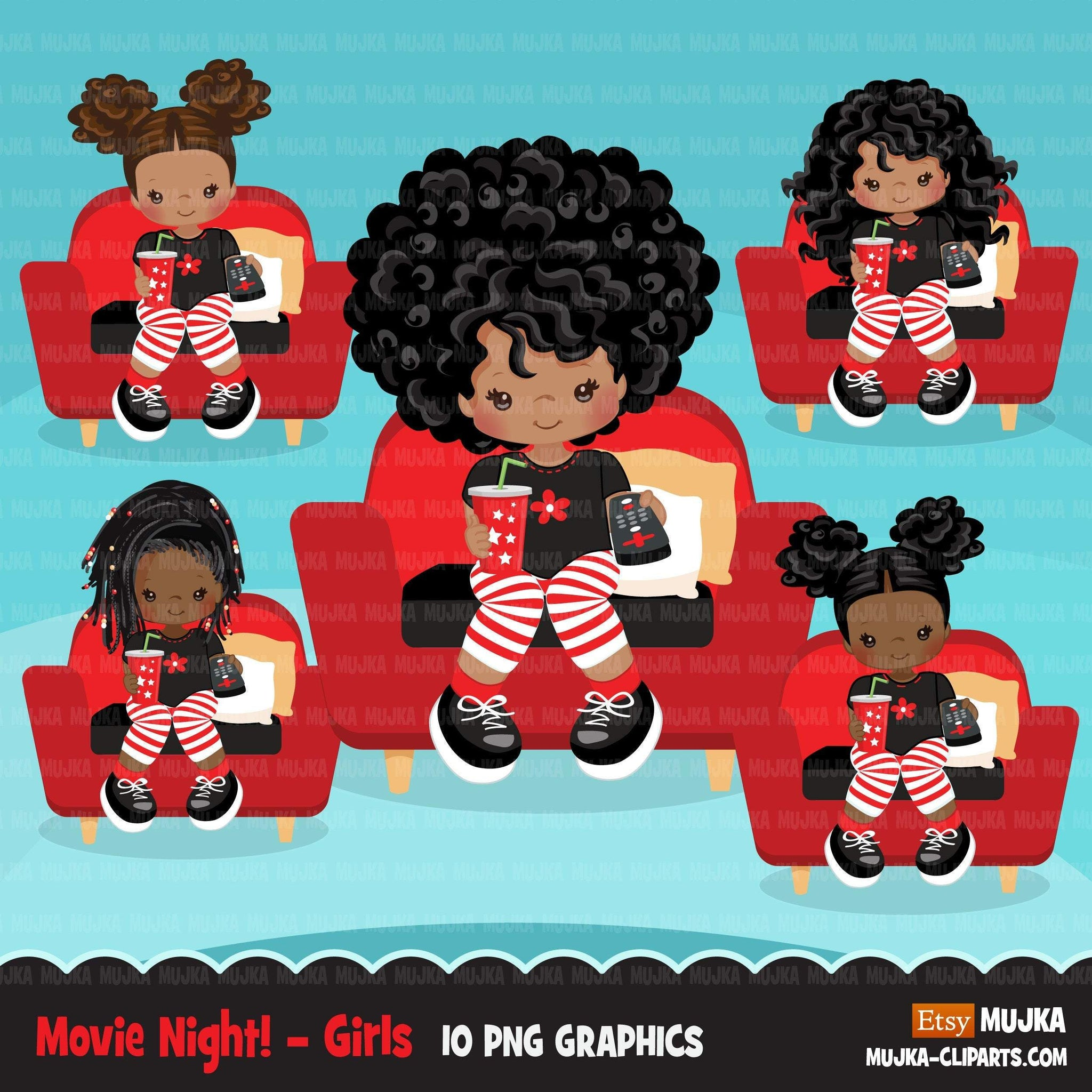 Movie night Clipart, movie birthday party, black girls graphics, TV remote, popcorn, sleepover party Png clip art