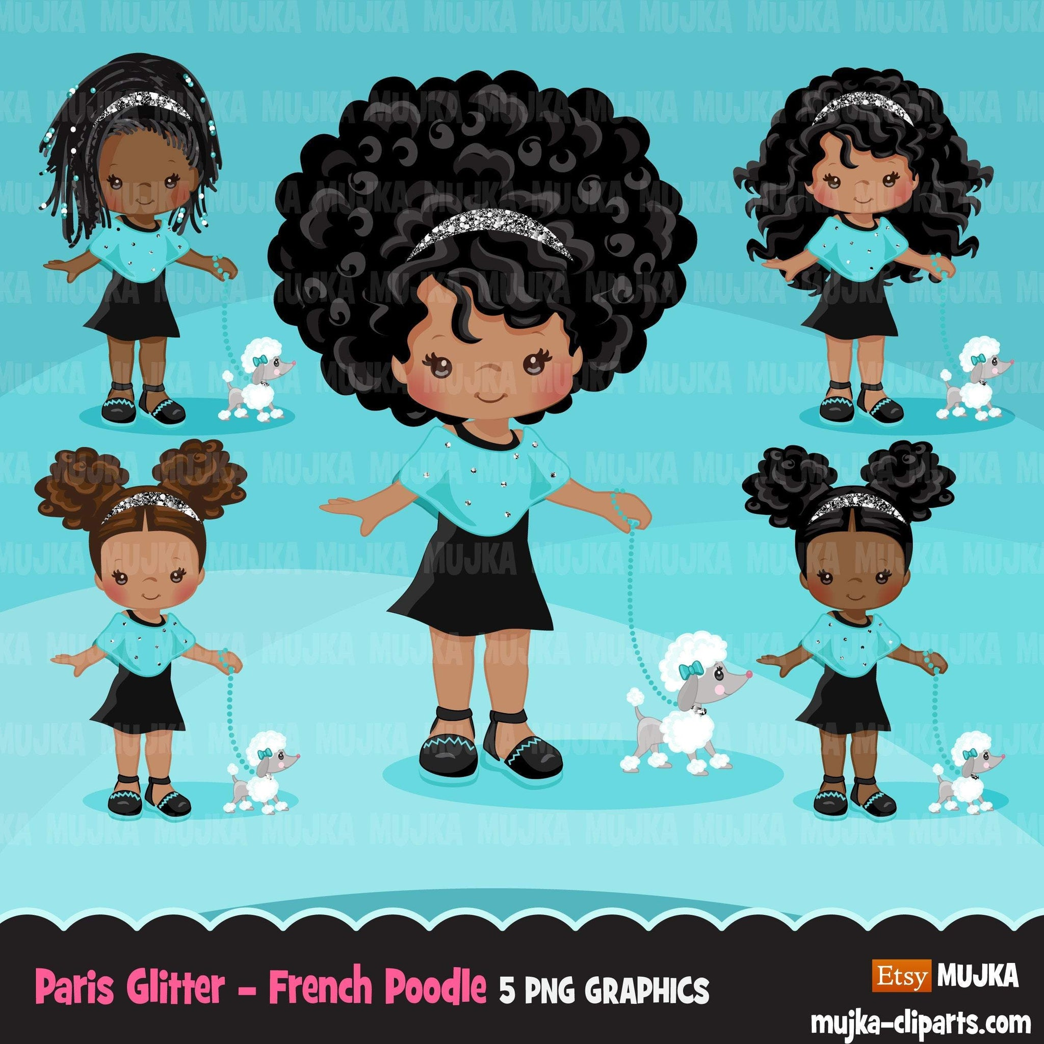 Paris clipart, Glitter teal Paris Black Girls, fashion, french poodle, baby shower, birthday graphics Png clip art