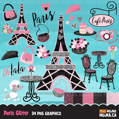Paris Clipart Bundle, Glitter French Birthday party, poodle, tea party, eiifel tower png clip art, commercial use