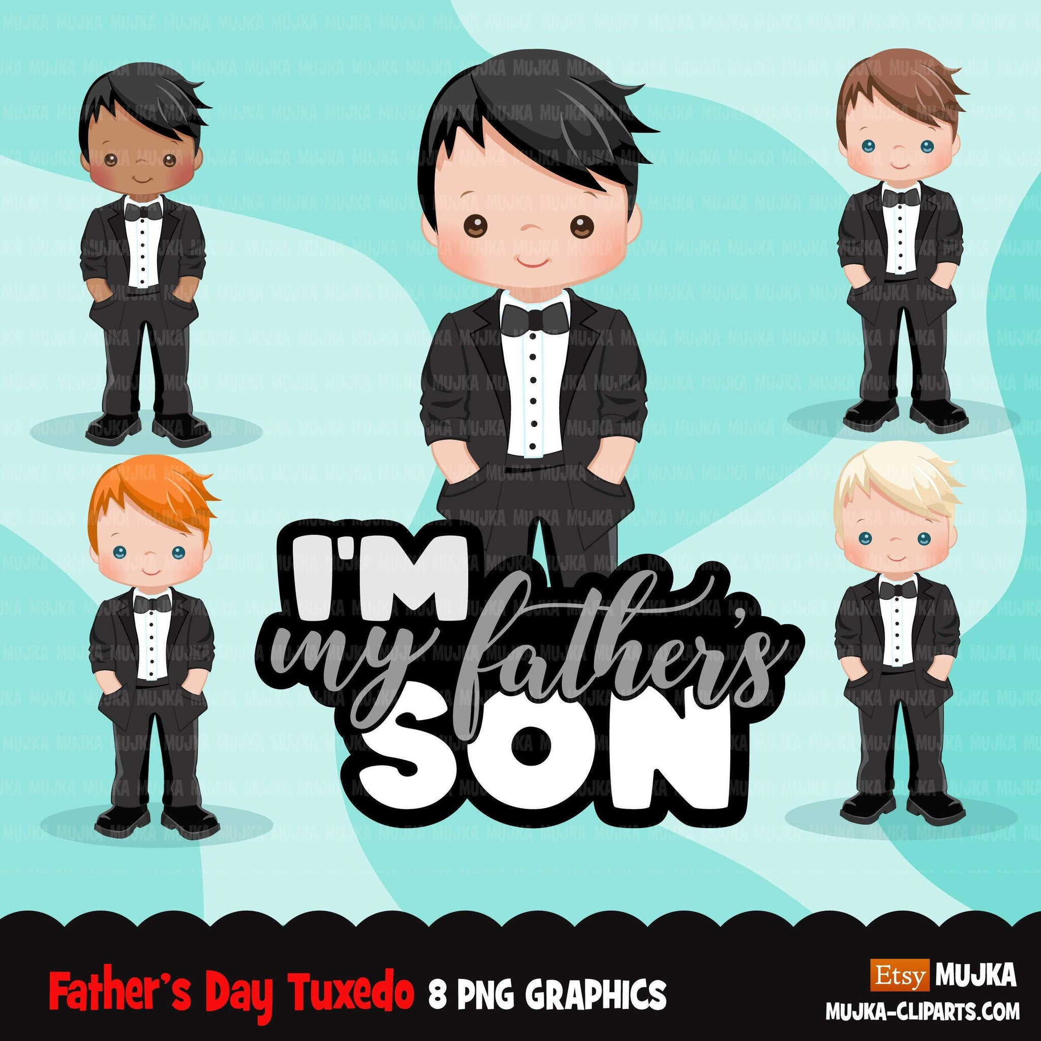 Father's Day clipart, boy with tuxedo, I am my father's son quote, dad graphics, commercial use PNG clip art