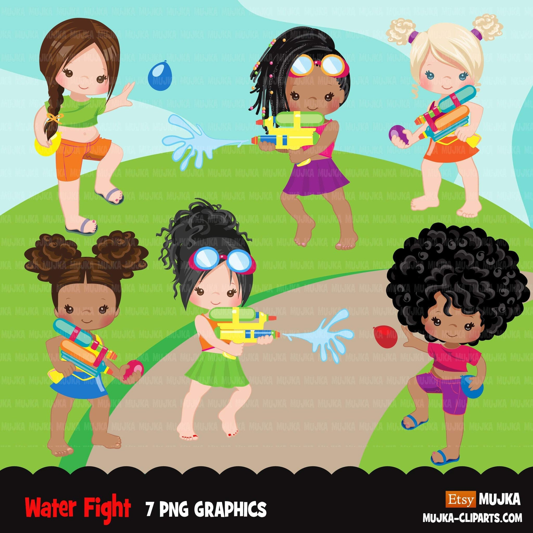 Water gun fight clipart, girls, black girls outdoors water balloon fight, summer birthday graphics, commercial use PNG clip art