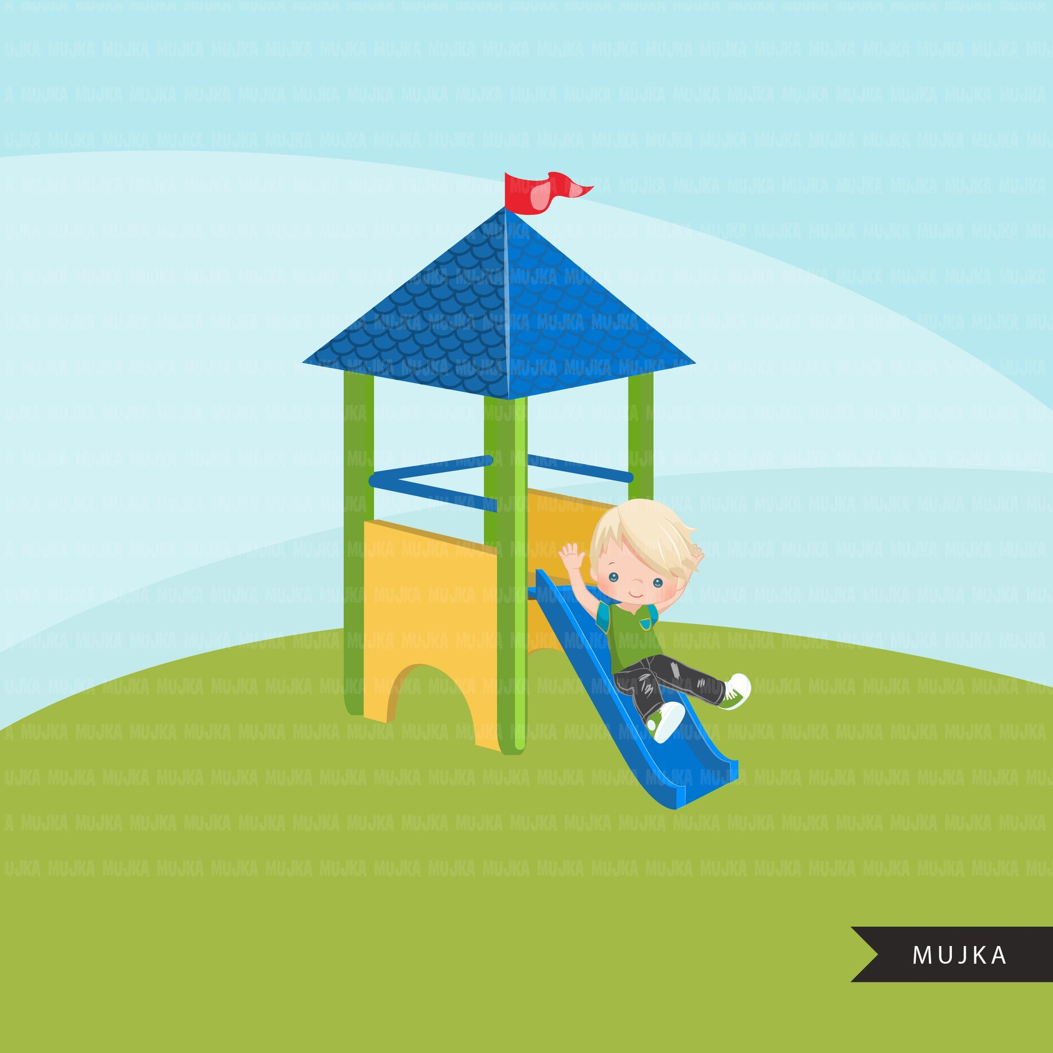Playground Clipart, boy on slide, outdoors park slide graphics, kindergarten, first grade, school commercial use Png clip art