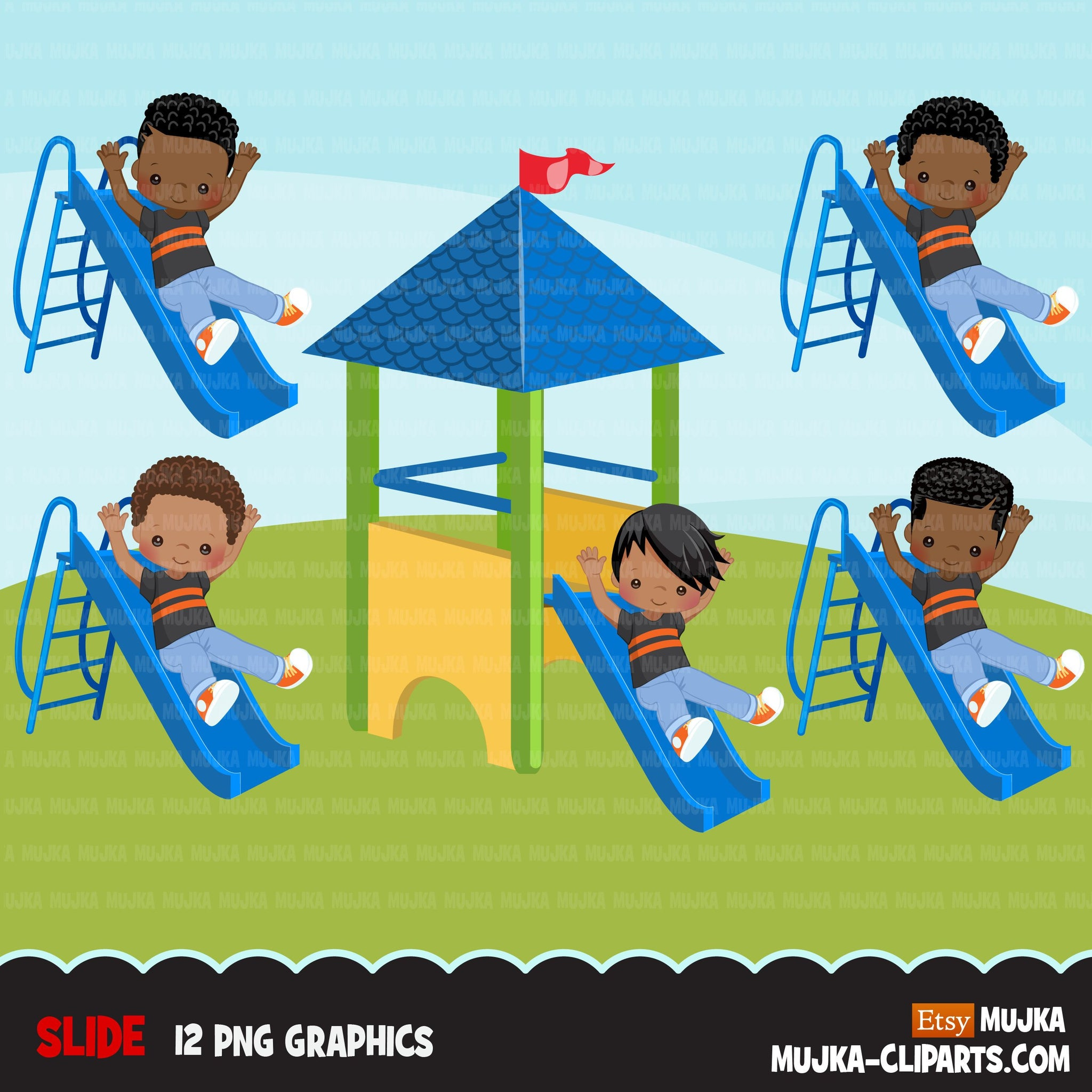 Playground Clipart, black boy on slide, outdoors park slide graphics, kindergarten, first grade, school commercial use Png clip art