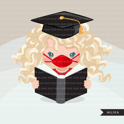 Graduation Clipart, graduate girls with book and mask, school, student class of 2020 covid quarantine graduation graphics, PNG clip art