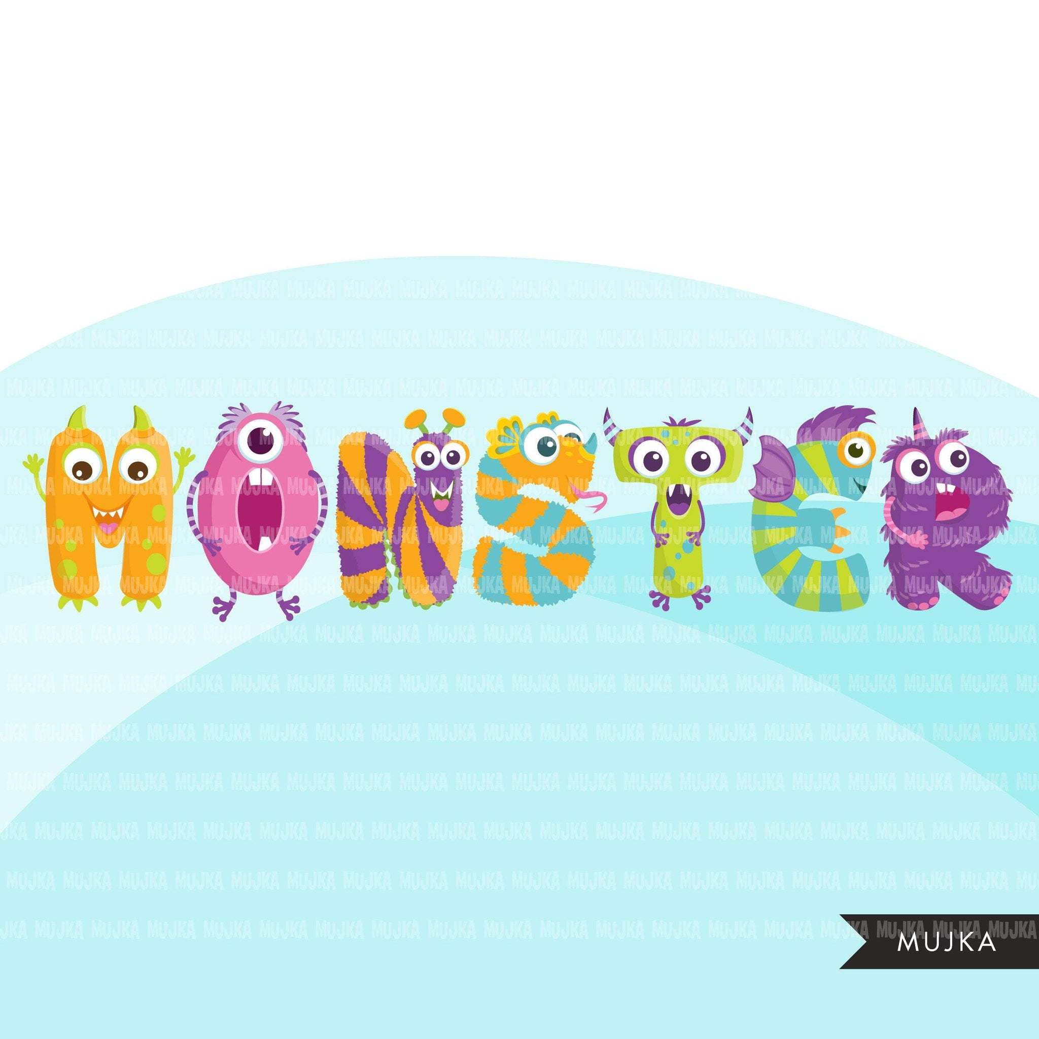 Monster Alphabet Clipart, birthday, boy girl and baby shower letters and numbers, PNG graphics