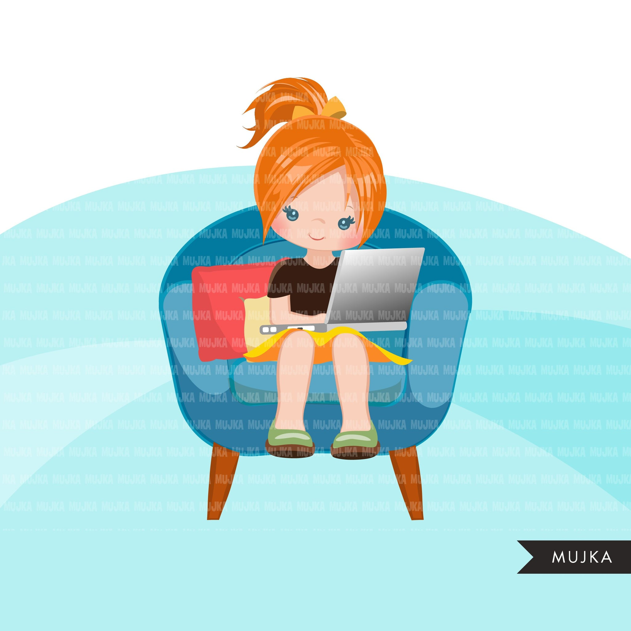 Homeschooling Girls Clipart, girl sitting with laptop, education, sofa reading, home study graphics, commercial use PNG clip art