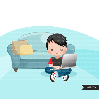 Homeschooling Boys Clipart, boy sitting with laptop, education, sofa reading, home study graphics, commercial use PNG clip art