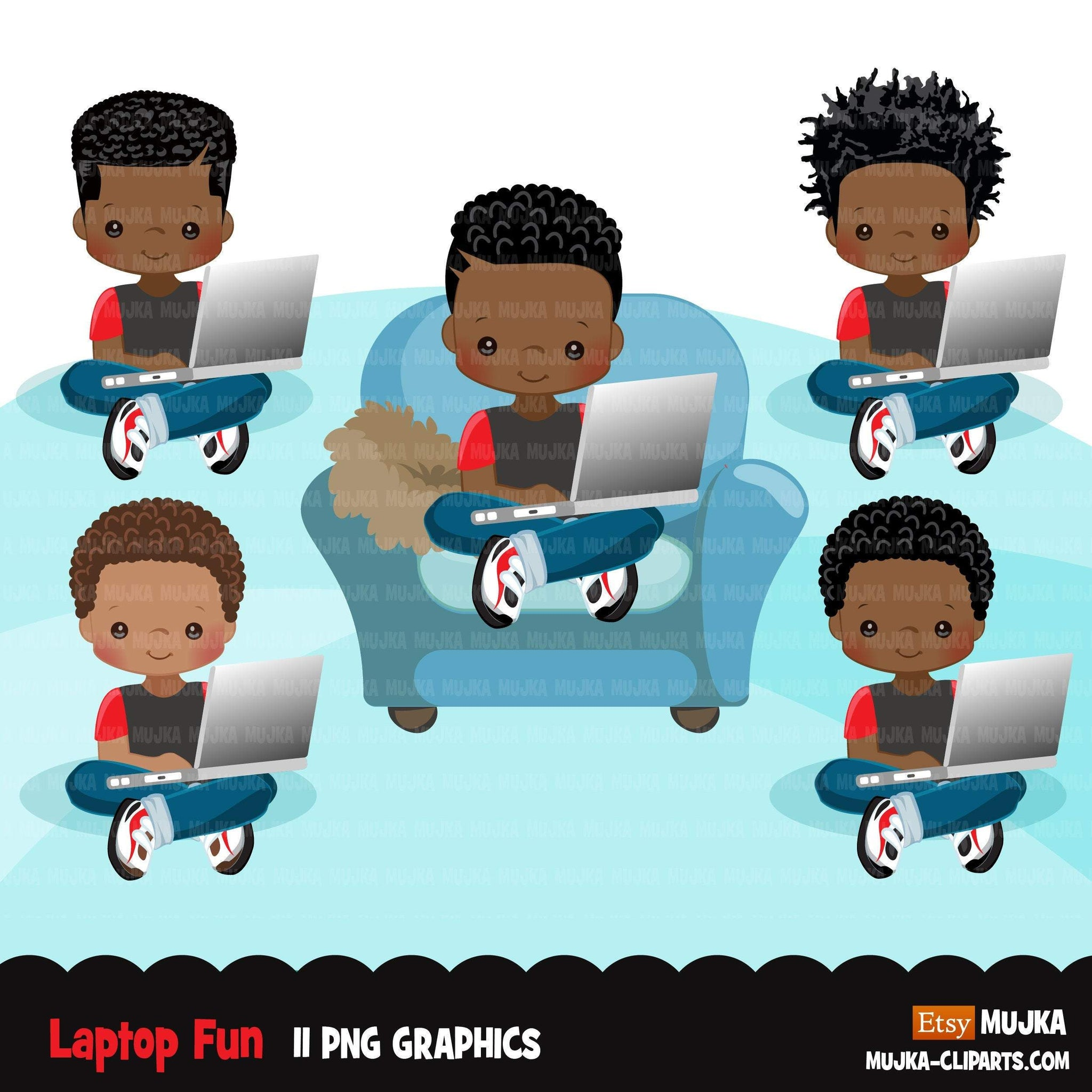 Homeschooling Boys Clipart, black boy sitting with laptop, education, sofa reading, home study graphics, commercial use PNG clip art