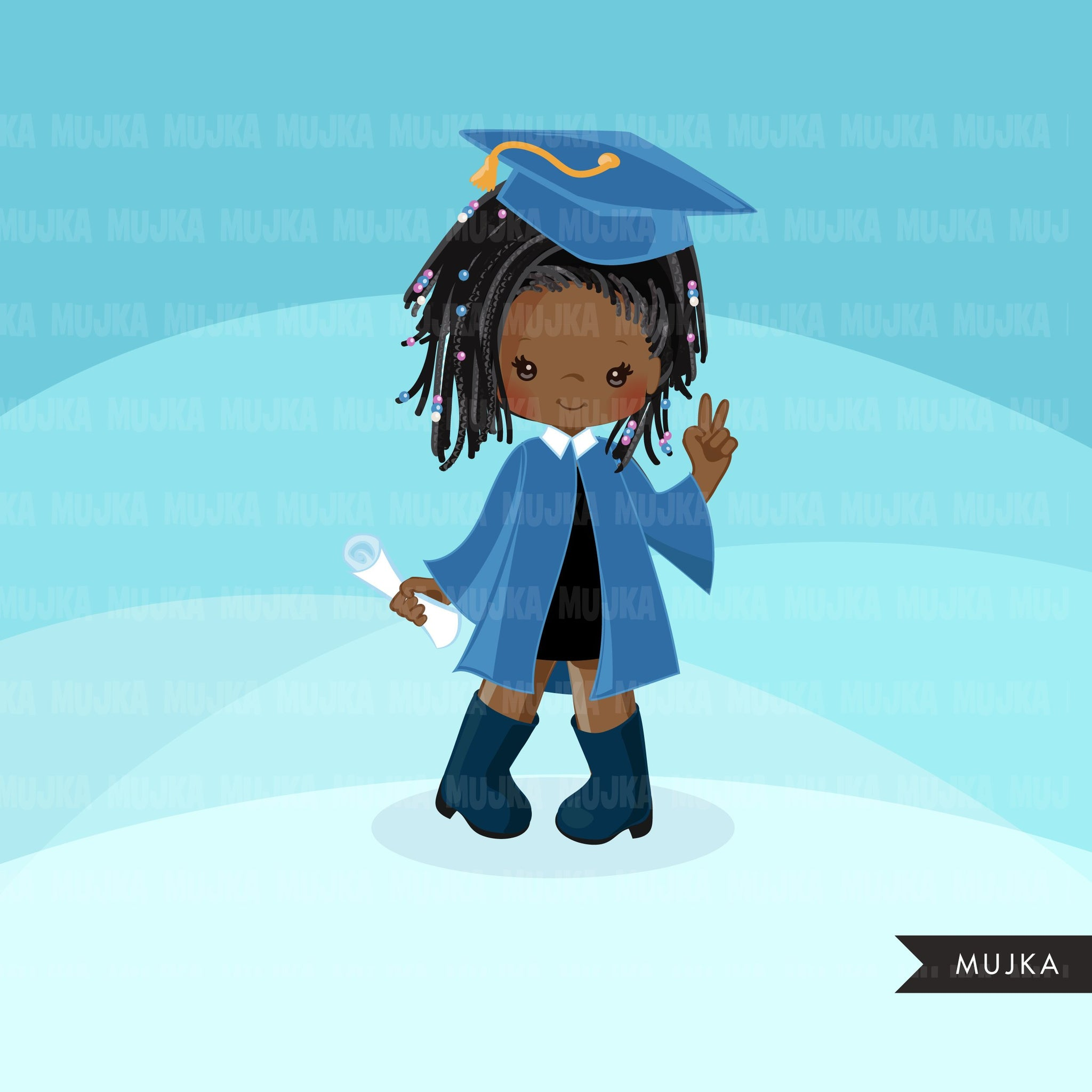 Graduation Clipart, graduate black girls with blue gown, cape and scroll, school, student class of graphics, PNG clip art
