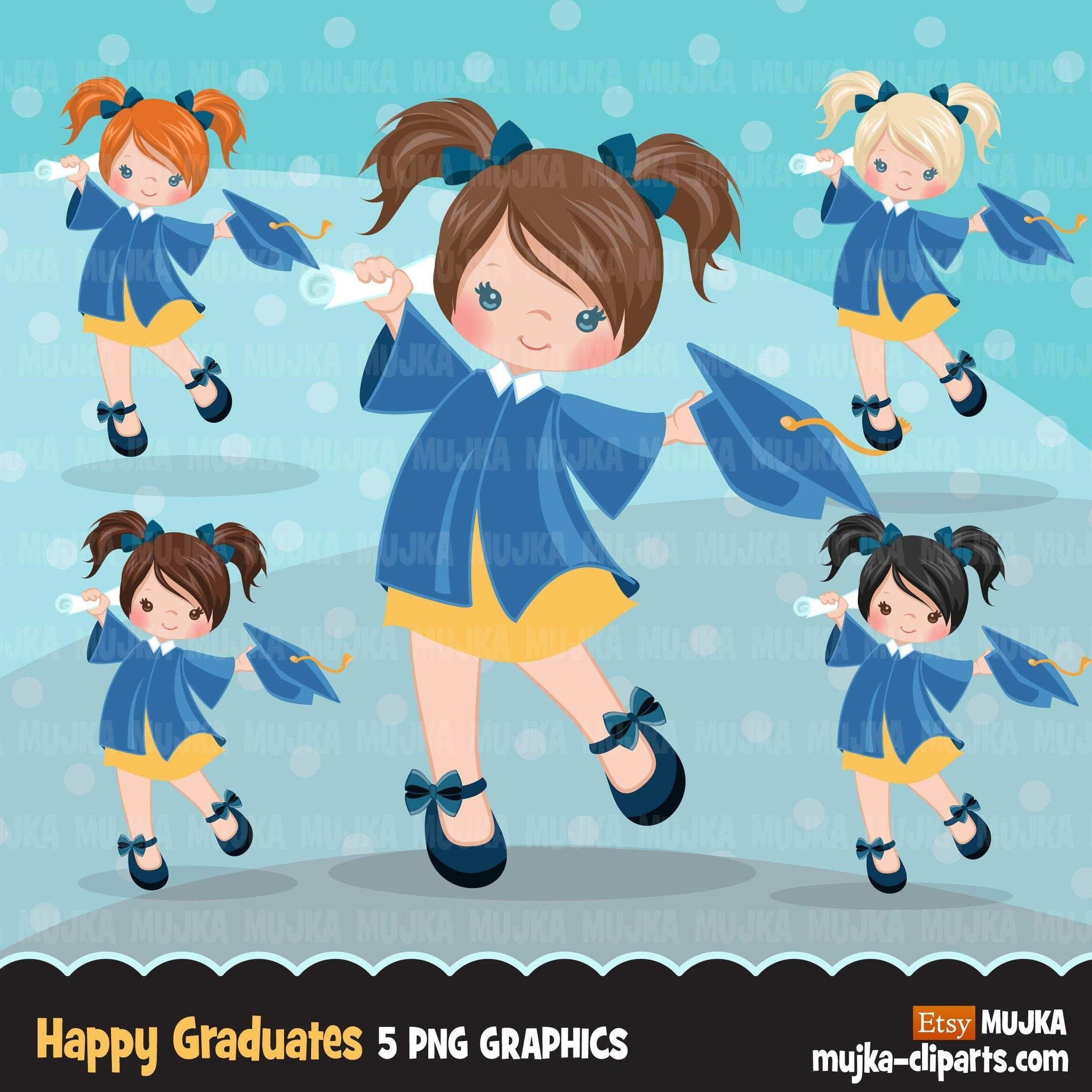 Graduation Clipart, graduate girls with blue gown, cape and scroll jumping, school, student class of graphics, PNG clip art