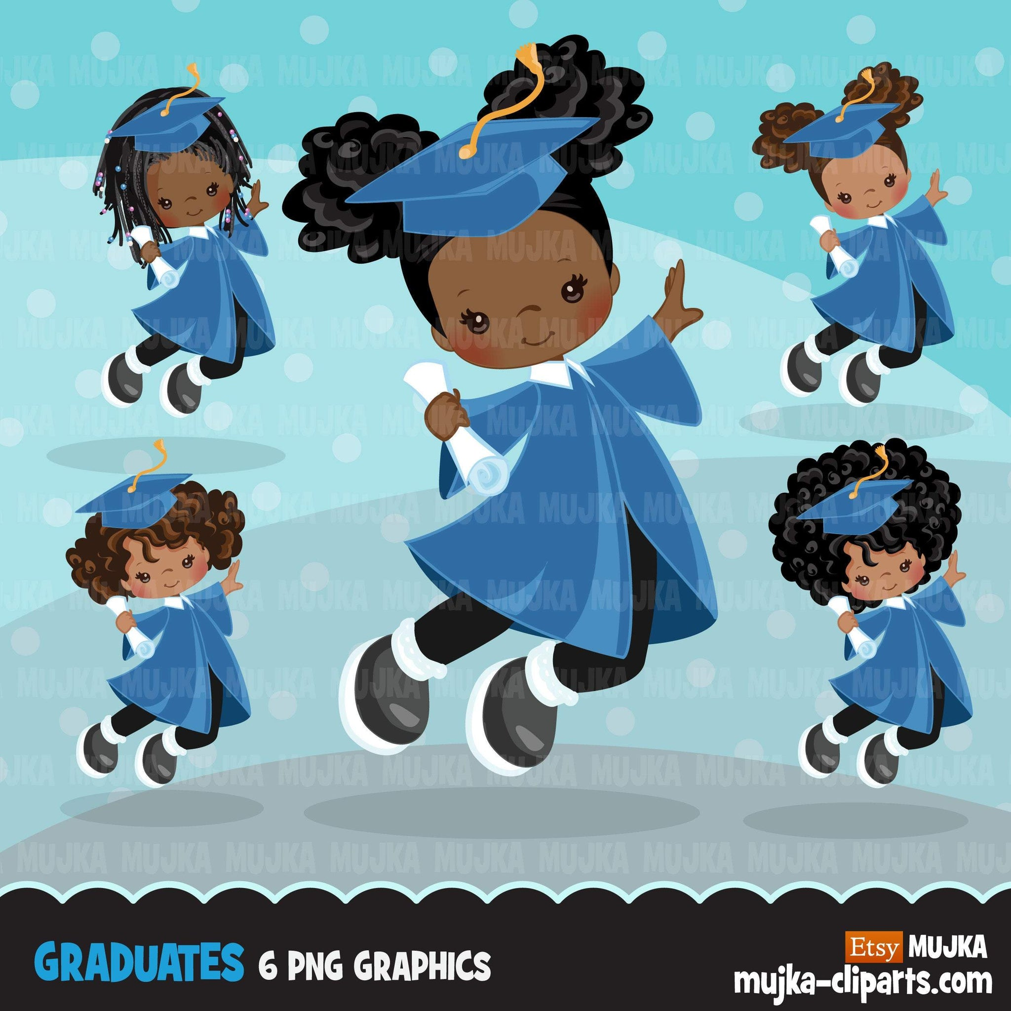 Graduation Clipart, graduate black girls with blue gown, cape and scroll jumping, school, student class of graphics, PNG clip art