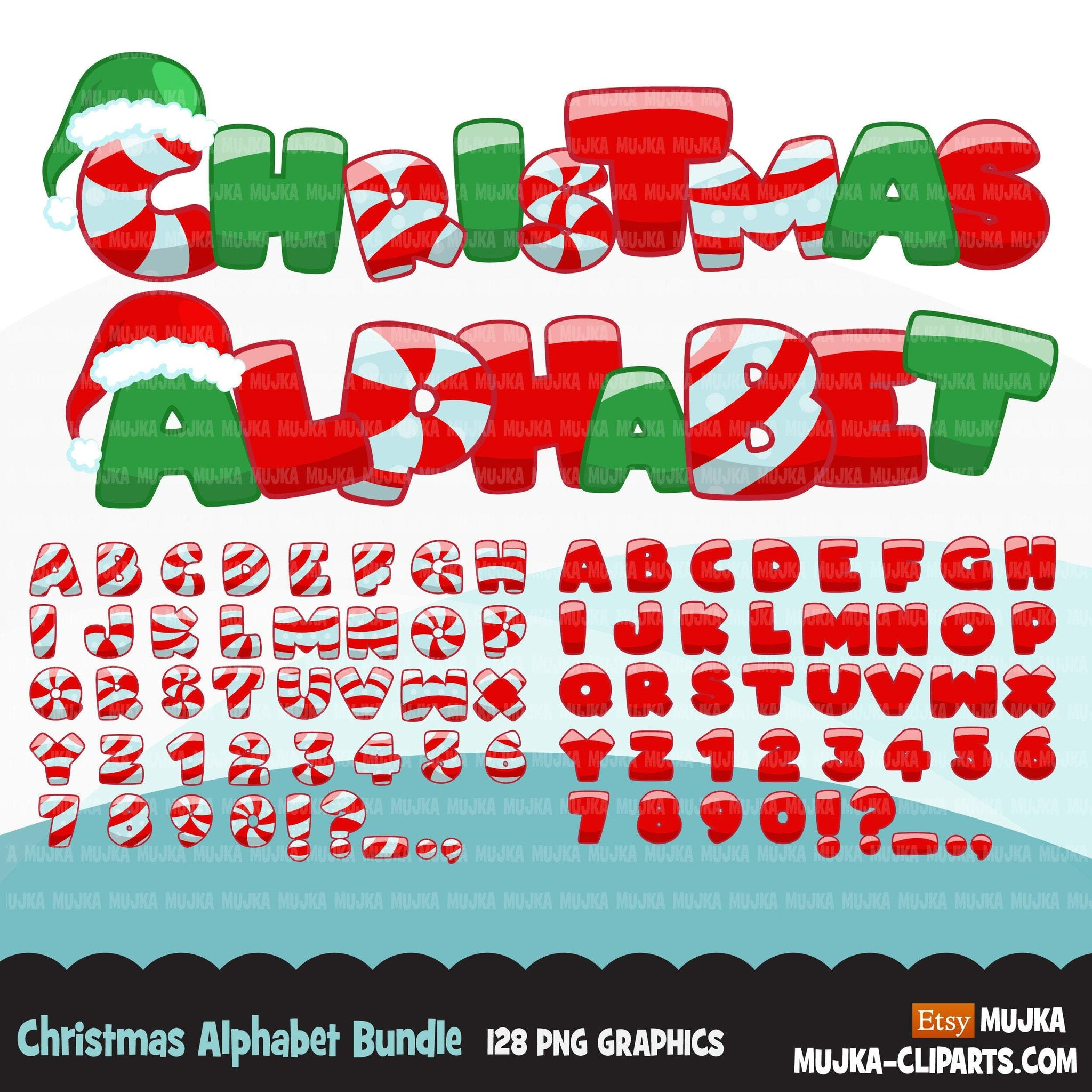 Alphabet Clipart Bundle, Christmas, monsters, rainbow, baby boy and girl, candy, plaid, stitched, science, numbers, PNG clip art