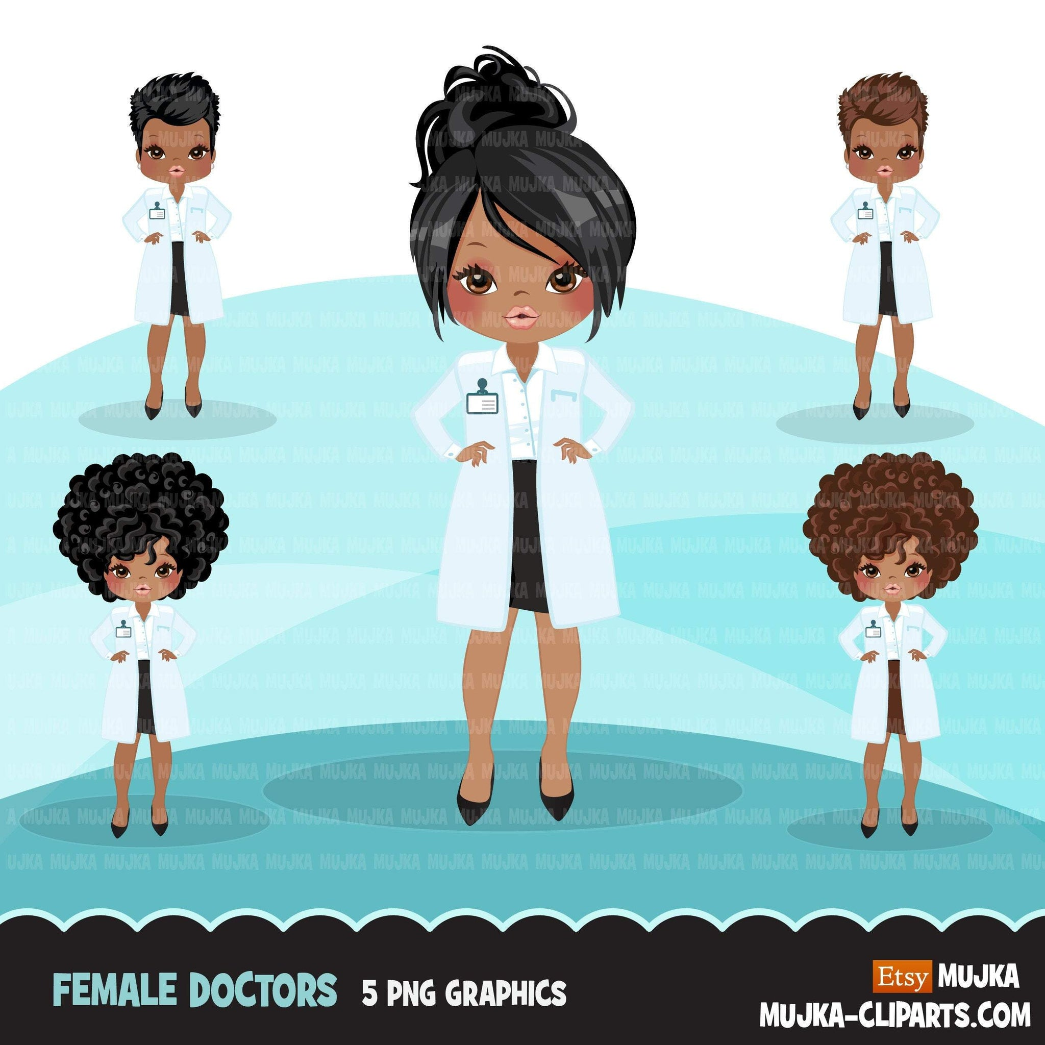Black female Doctor clipart, hospital graphics, print and cut PNG digital Designs, covid, quarantine Medical girl clip art