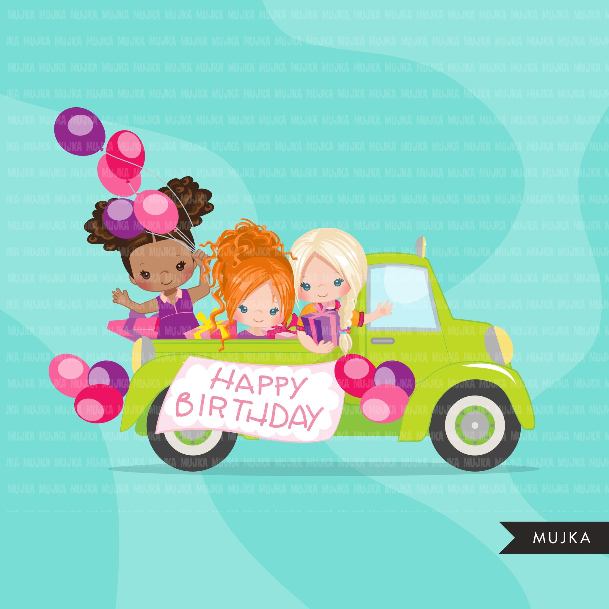Drive-by Birthday Party parade clipart, girls quarantine birthday party, drive through party truck, car, covid graphics, PNG clip art