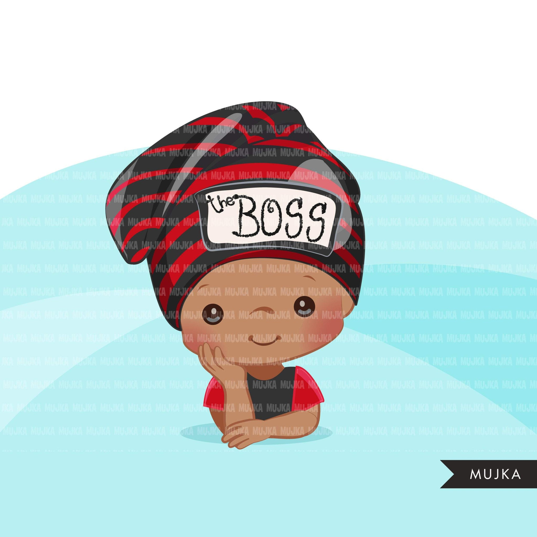 Baby Boss Clipart, boys with cute boss hat, black baby boy bonnet graphics, commercial use PNG clip art
