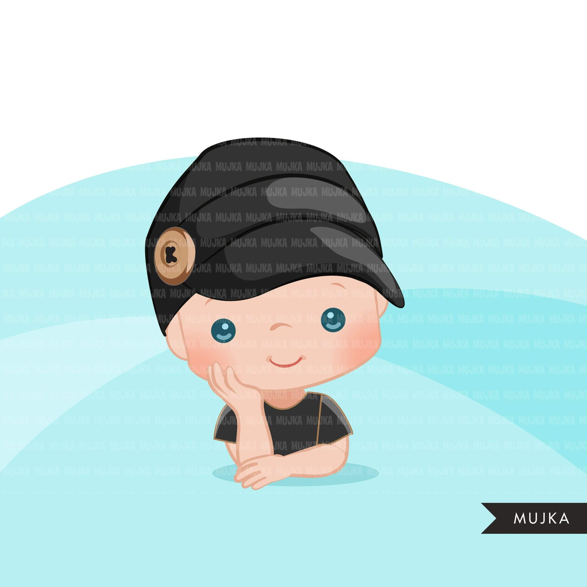 Baby Boss Clipart, boys with cute boss button hat, black baby boy bonnet graphics, commercial use PNG clip art
