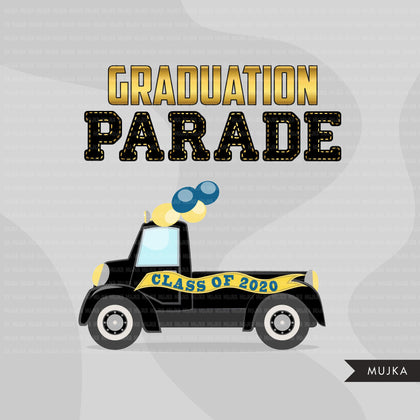 Drive by Graduation parade clipart, quarantine grads party, drive through truck, car, limousine, class of 2020 school graphics, PNG clip art