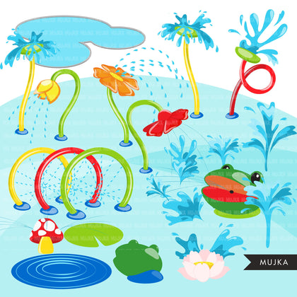 Splash Pad park clipart Bundle, build your own park with kids, outdoor fun birthday summer graphics, PNG digital