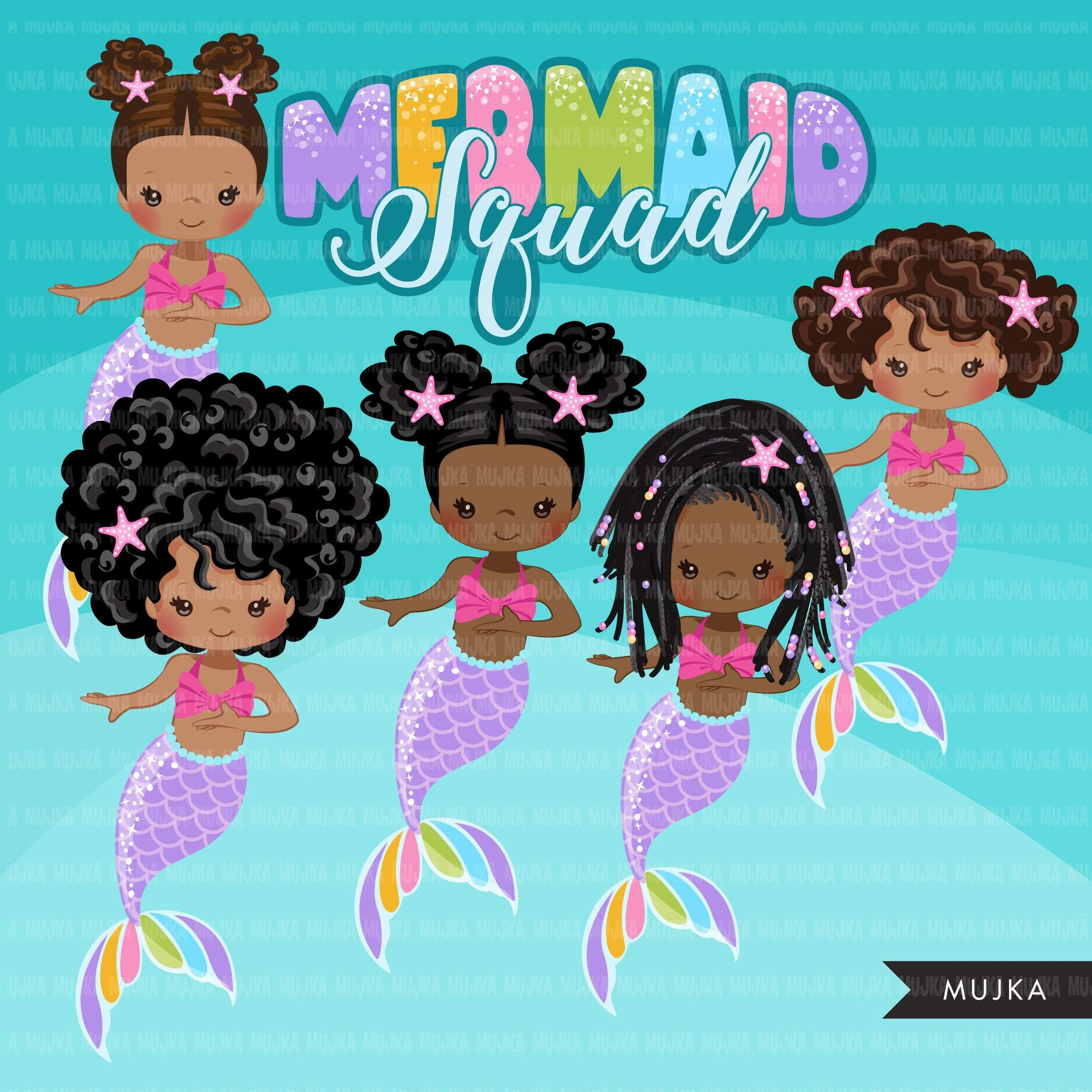 Mermaid clipart, rainbow mermaid graphics, black mermaid princess, mermaid squad birthday party, afro girl PNG clip art