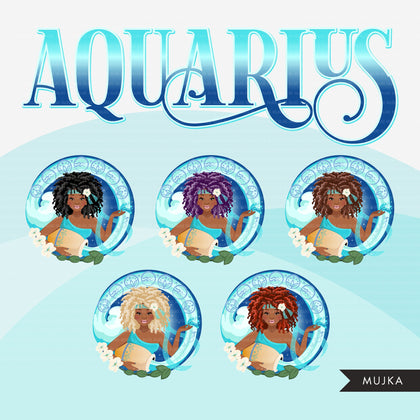 Zodiac Aquarius Clipart, Png digital download, Sublimation Graphics for Cricut & Cameo, Black Curly Hair Woman Horoscope sign designs