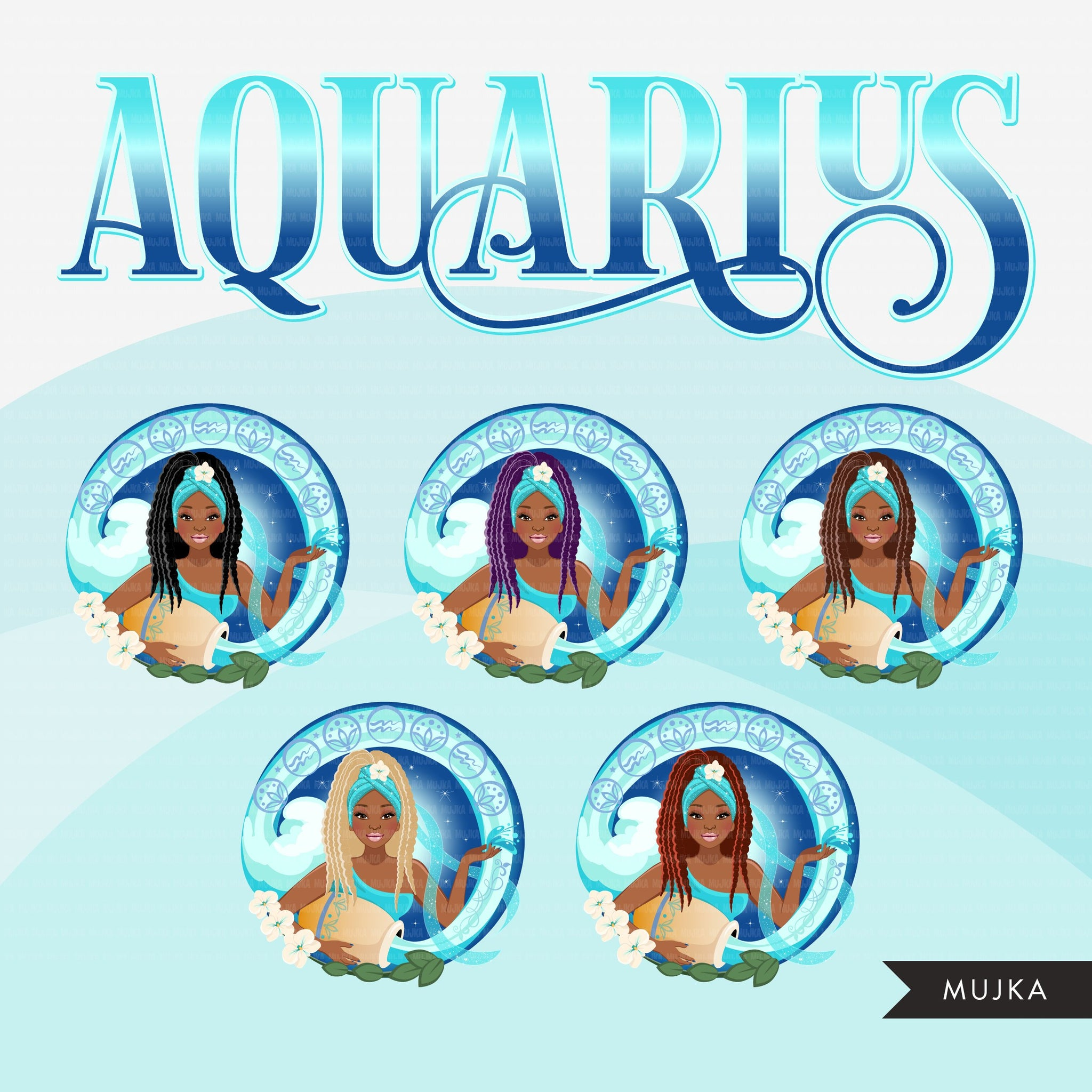 Zodiac Aquarius Clipart, Png digital download, Sublimation Graphics for Cricut & Cameo, Black Braid Hair Woman Horoscope sign designs