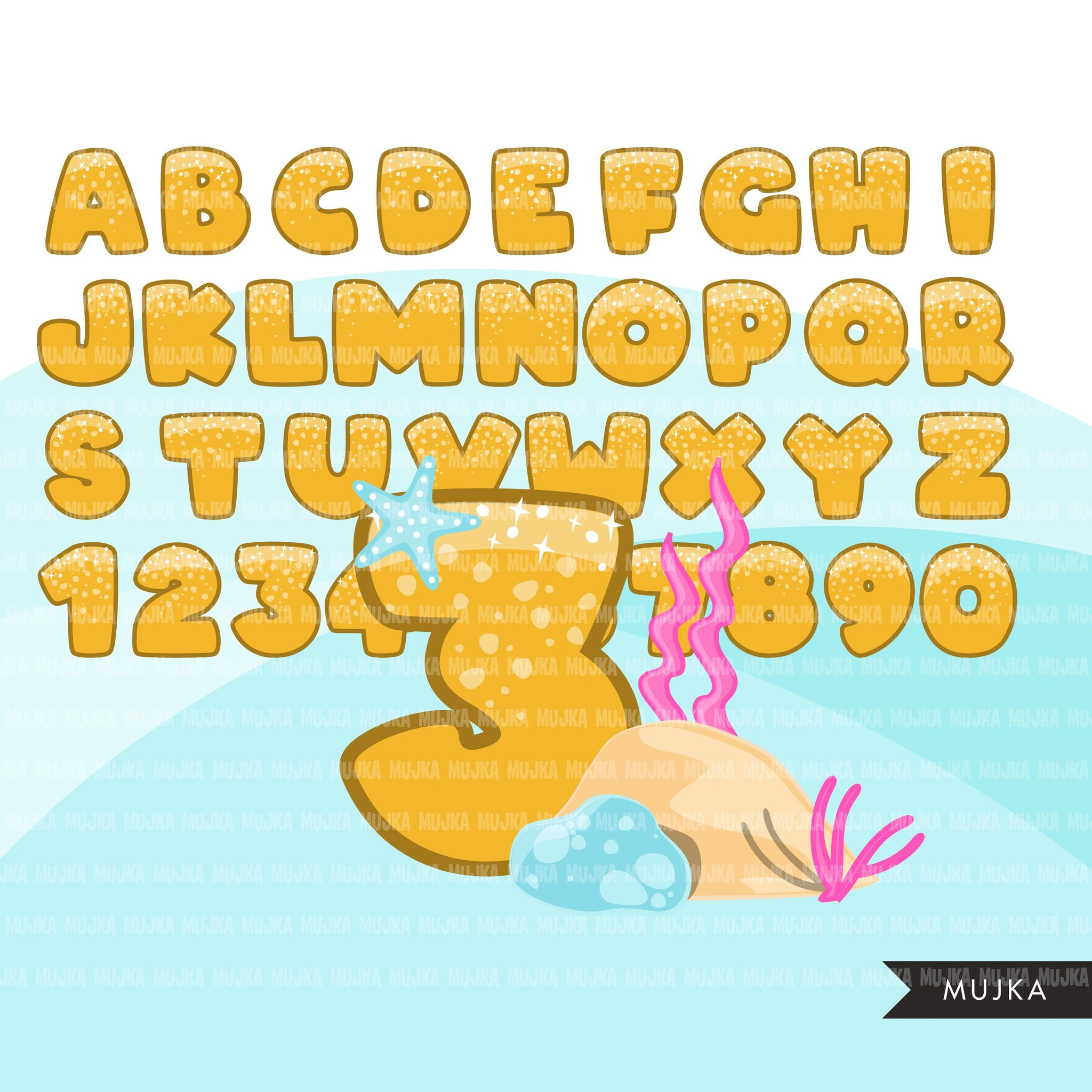 Mermaid Alphabet clipart, rainbow mermaid squad capital letters numbers, colorful sea weed, birthday party, PNG clip art