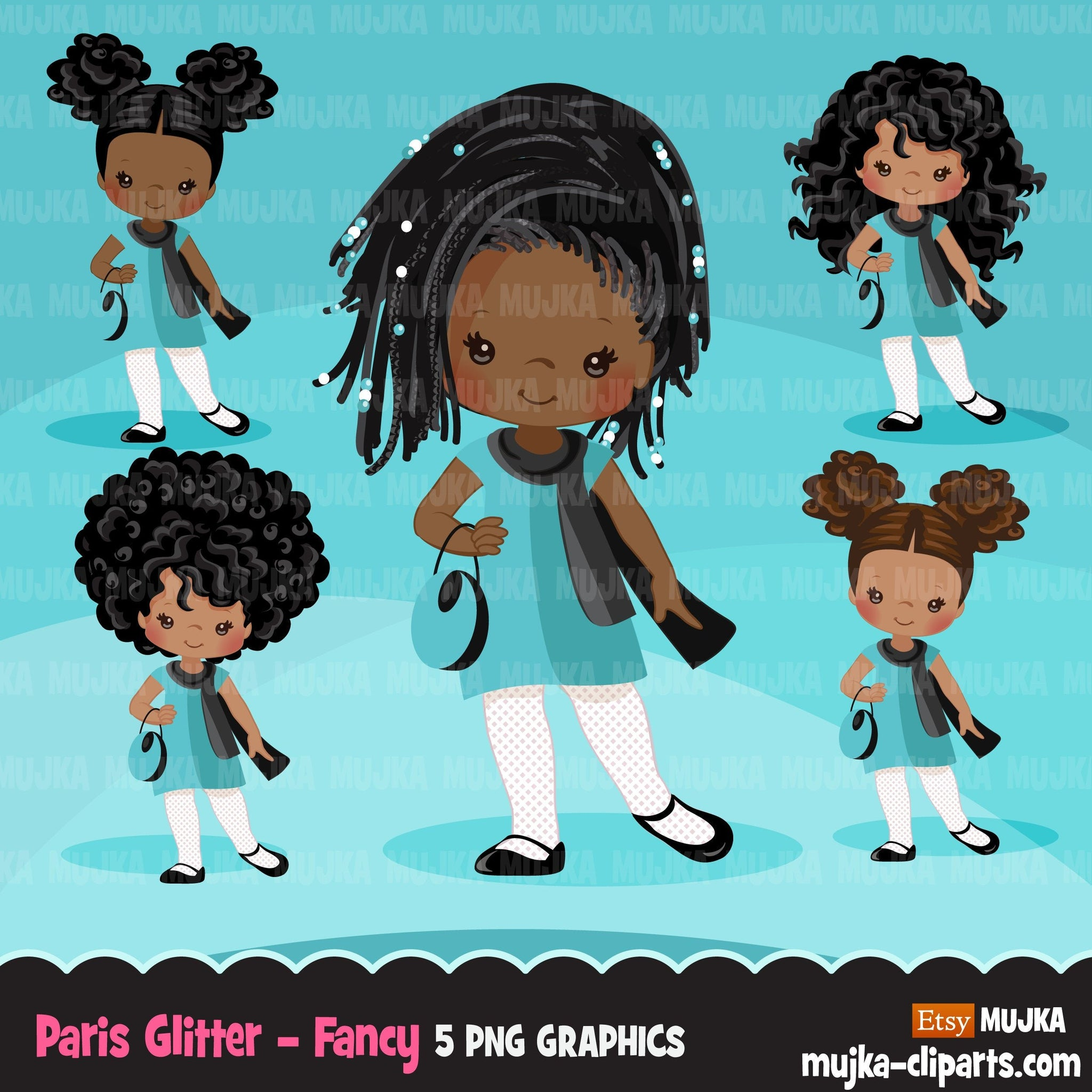 Paris clipart, Glitter teal Paris Black Girls, fashion, french shopping, tea party, baby shower, birthday graphics