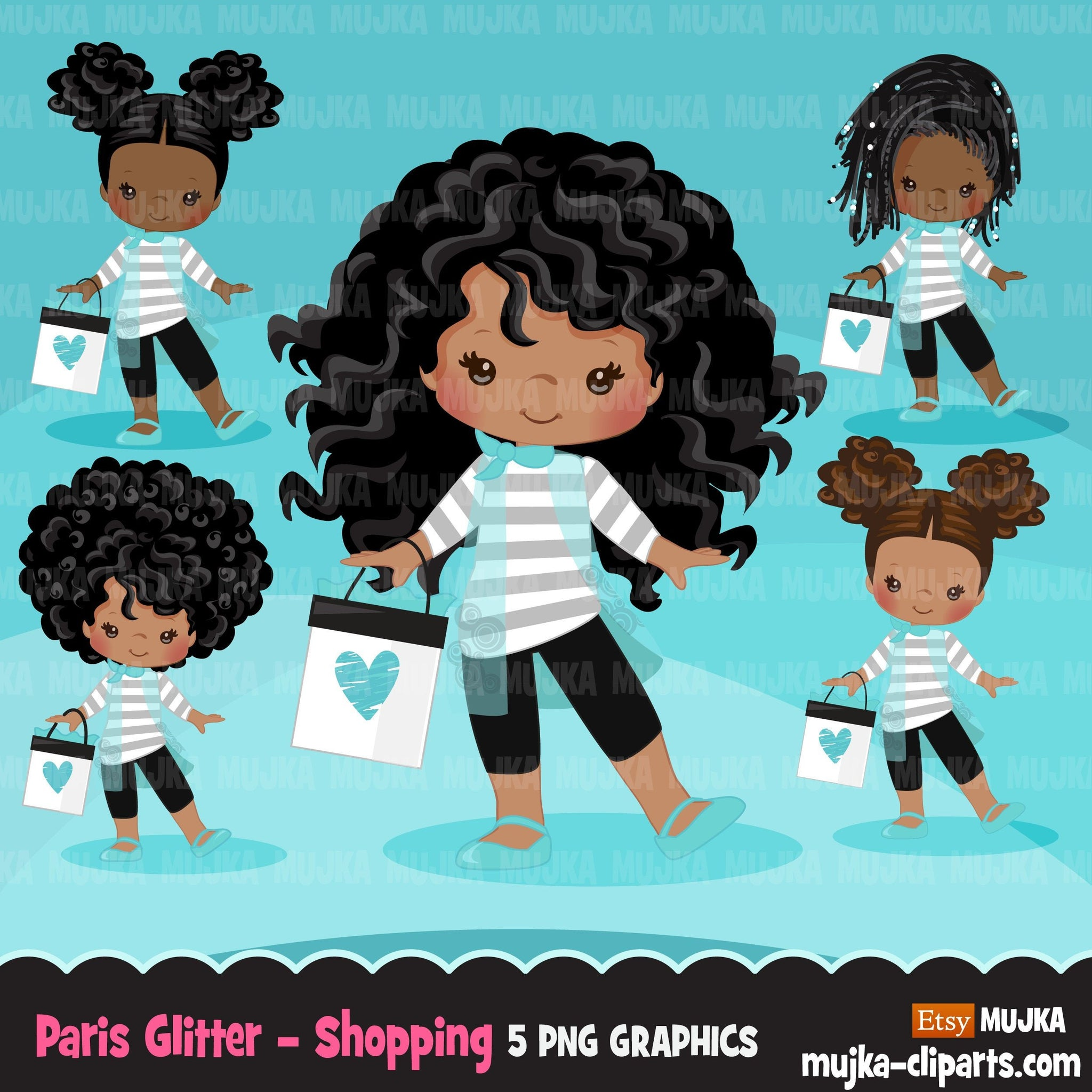 Paris clipart, Glitter teal Paris Black Girls, fashion, french shopping bag, baby shower, birthday graphics