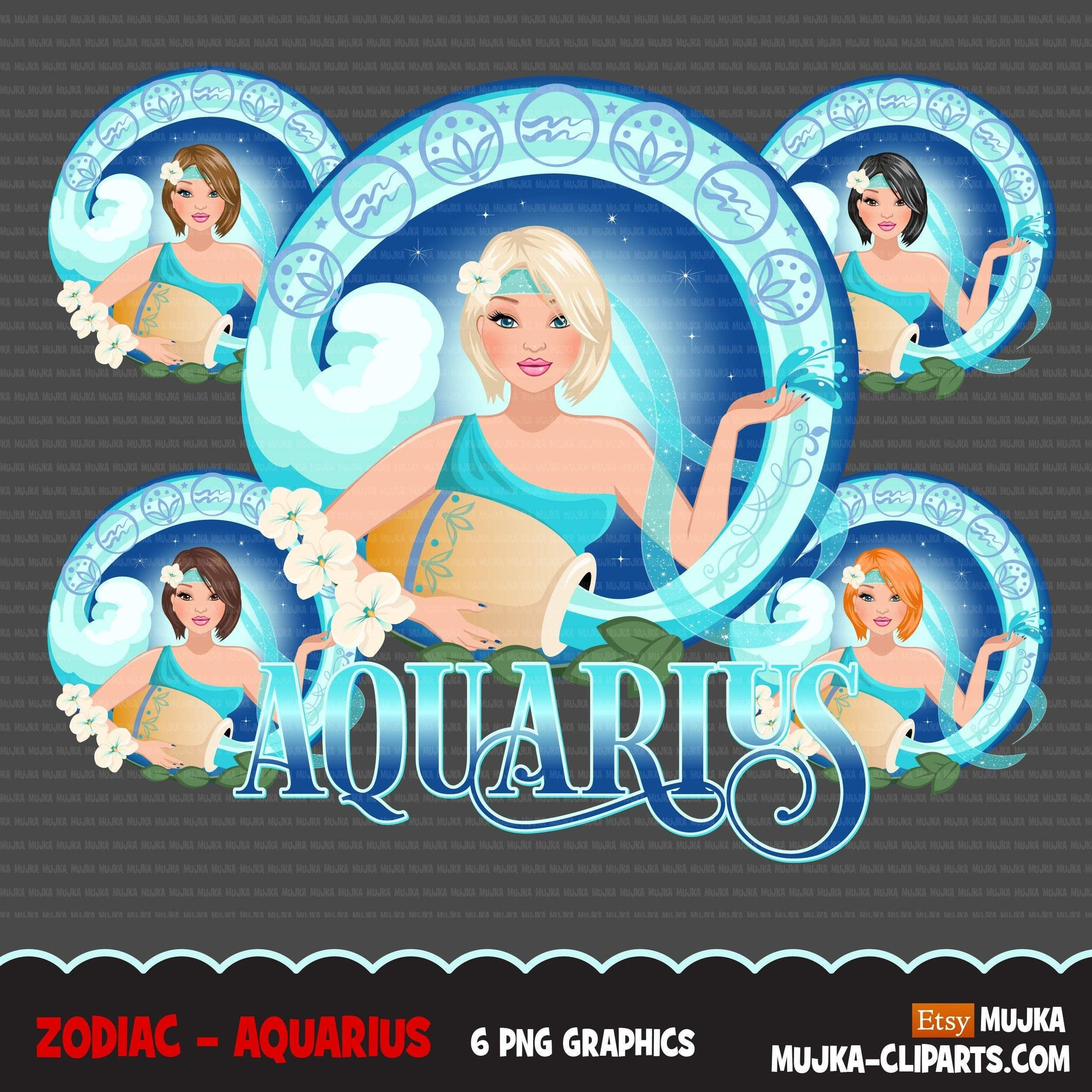 Zodiac Aquarius Clipart, Png digital download, Sublimation Graphics for Cricut & Cameo, Caucasian Short Hair Woman Horoscope sign designs