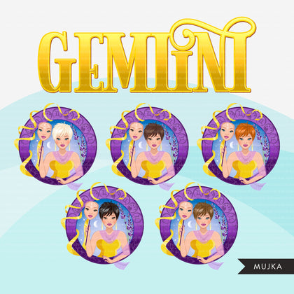 Zodiac Gemini Clipart, Png digital download, Sublimation Graphics for Cricut & Cameo, Caucasian pixie hair Woman Horoscope sign designs