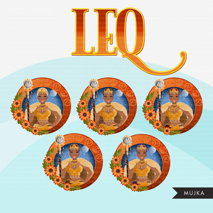 Zodiac Leo Clipart, Png digital download, Sublimation Graphics for Cricut & Cameo, Black Woman Horoscope sign designs