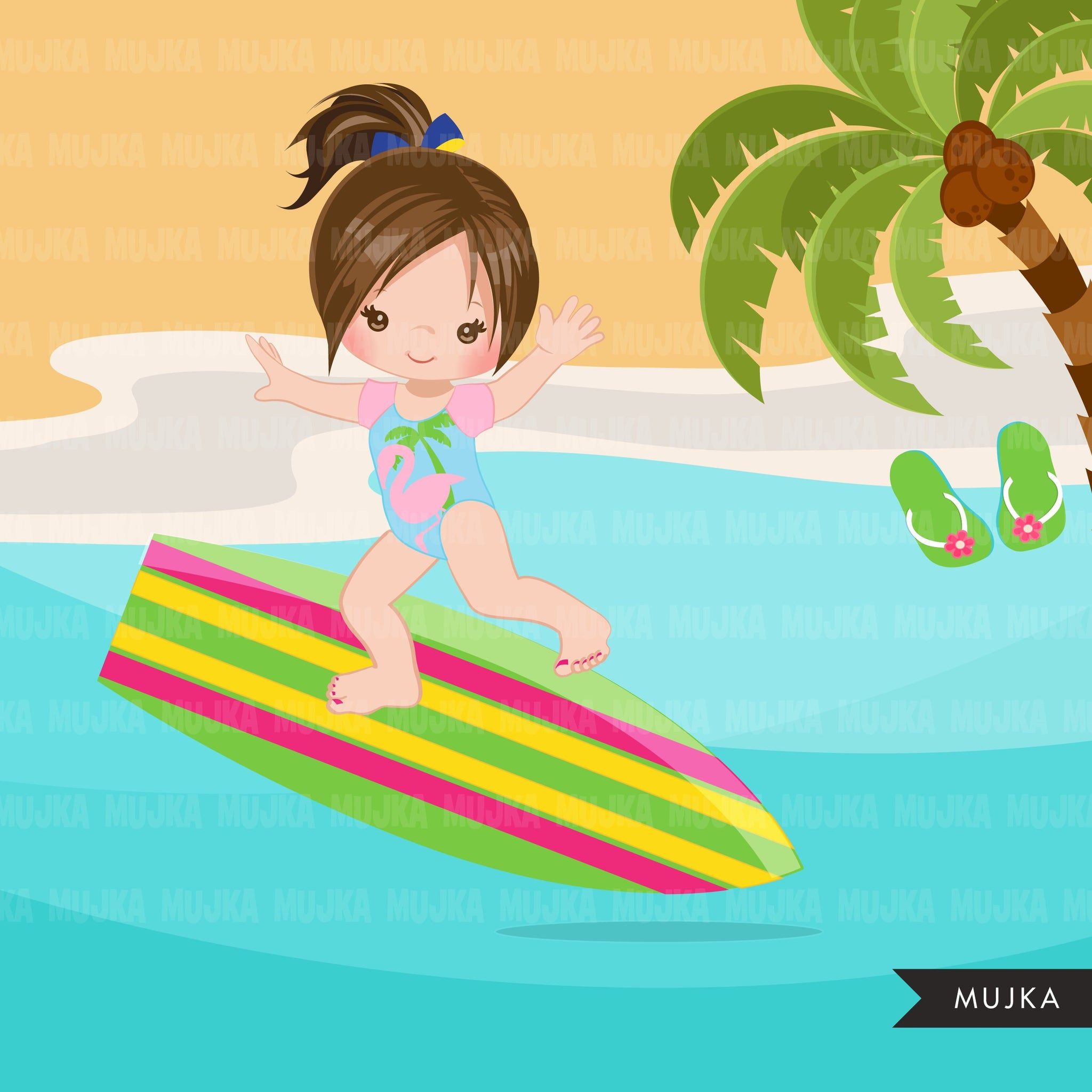 Beach Fun Clipart for Girls, Summer Swimsuit Graphics, surf board, beach ball, sublimation Png digital clip art